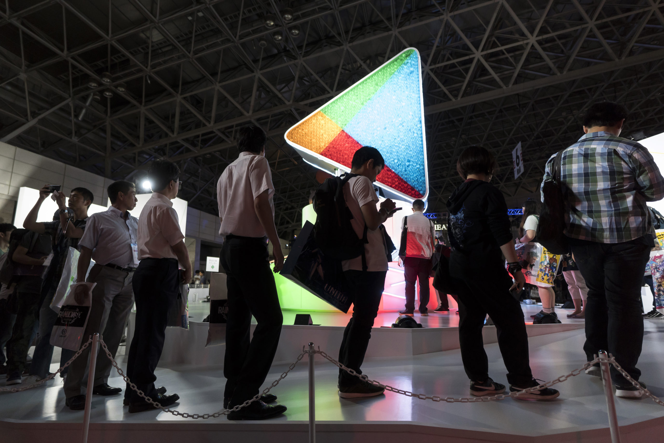 Attendees stand in front of the Google Play booth during the Tokyo Game Show 2018 on September 20, 2018 in Chiba, Japan. (Photo by Tomohiro Ohsumi/Getty Images)