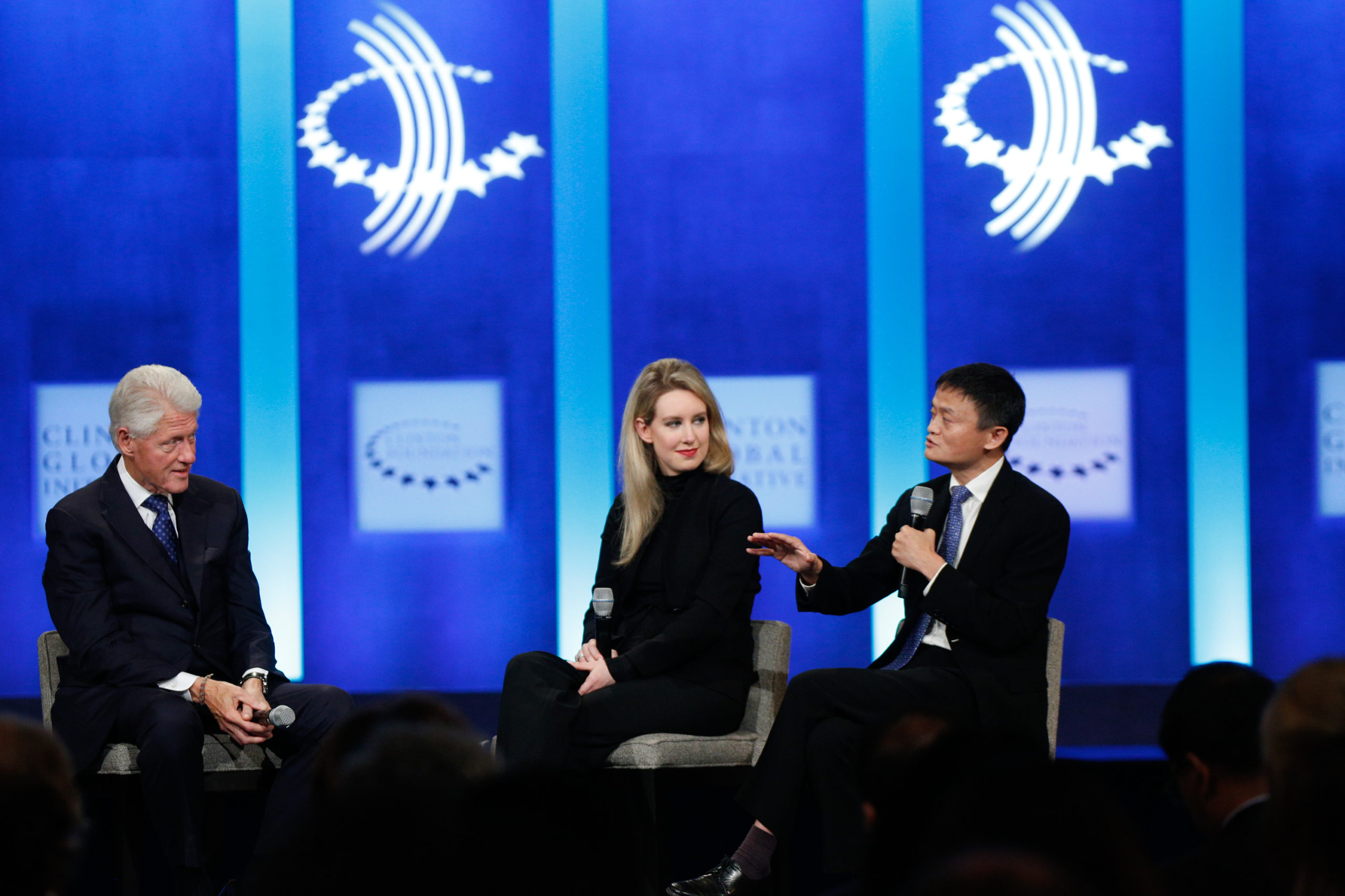 Jack Ma, Executive Chairman of Alibaba Group speaks as U.S. President Bill Clinton and Elizabeth Holmes, founder and CEO of Theranos, listen during the closing session of the Clinton Global Initiative 2015 on September 29, 2015 in New York City. (Photo by JP Yim/Getty Images)