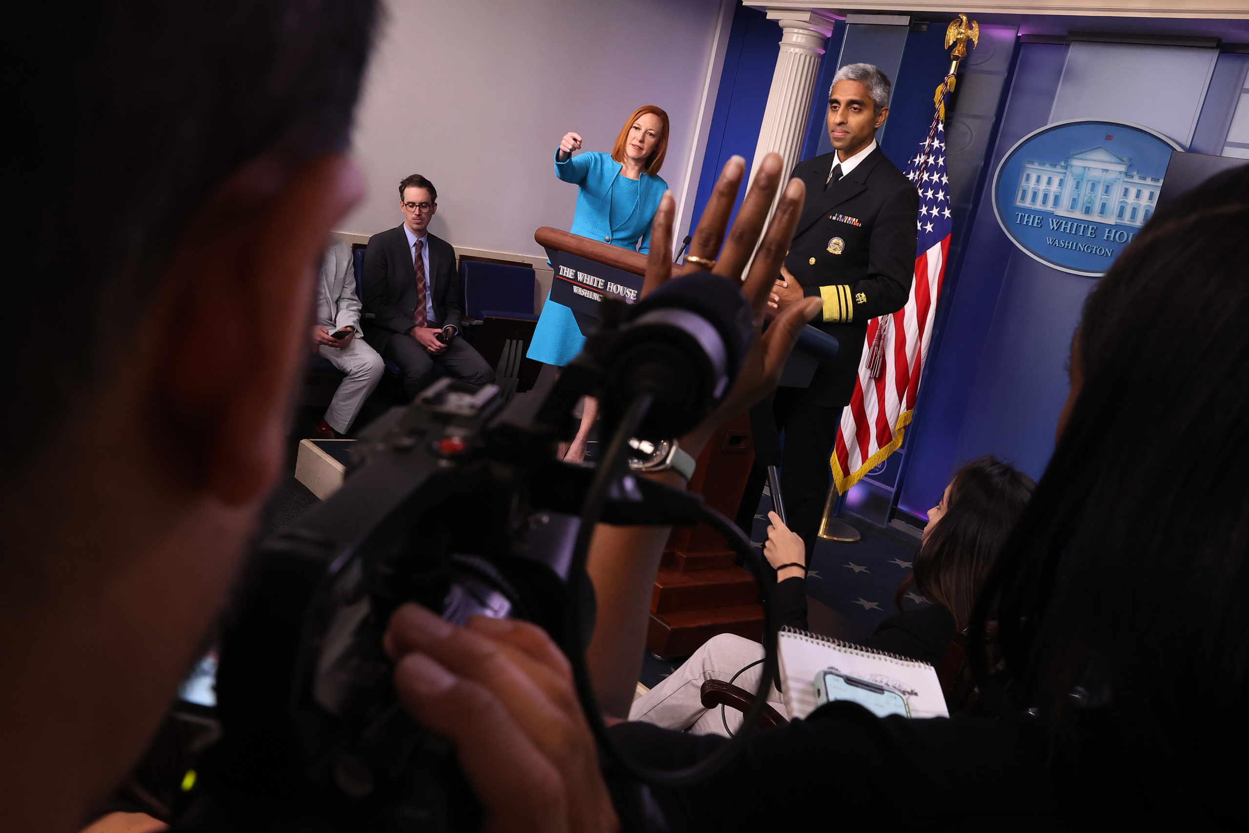 U.S. Surgeon General Vivek Murthy and White House Press Secretary Jen Psaki talk to reporters about the Surgeon's General's advisory titled, 'Confronting Health Misinformation.' (Photo by Chip Somodevilla/Getty Images)