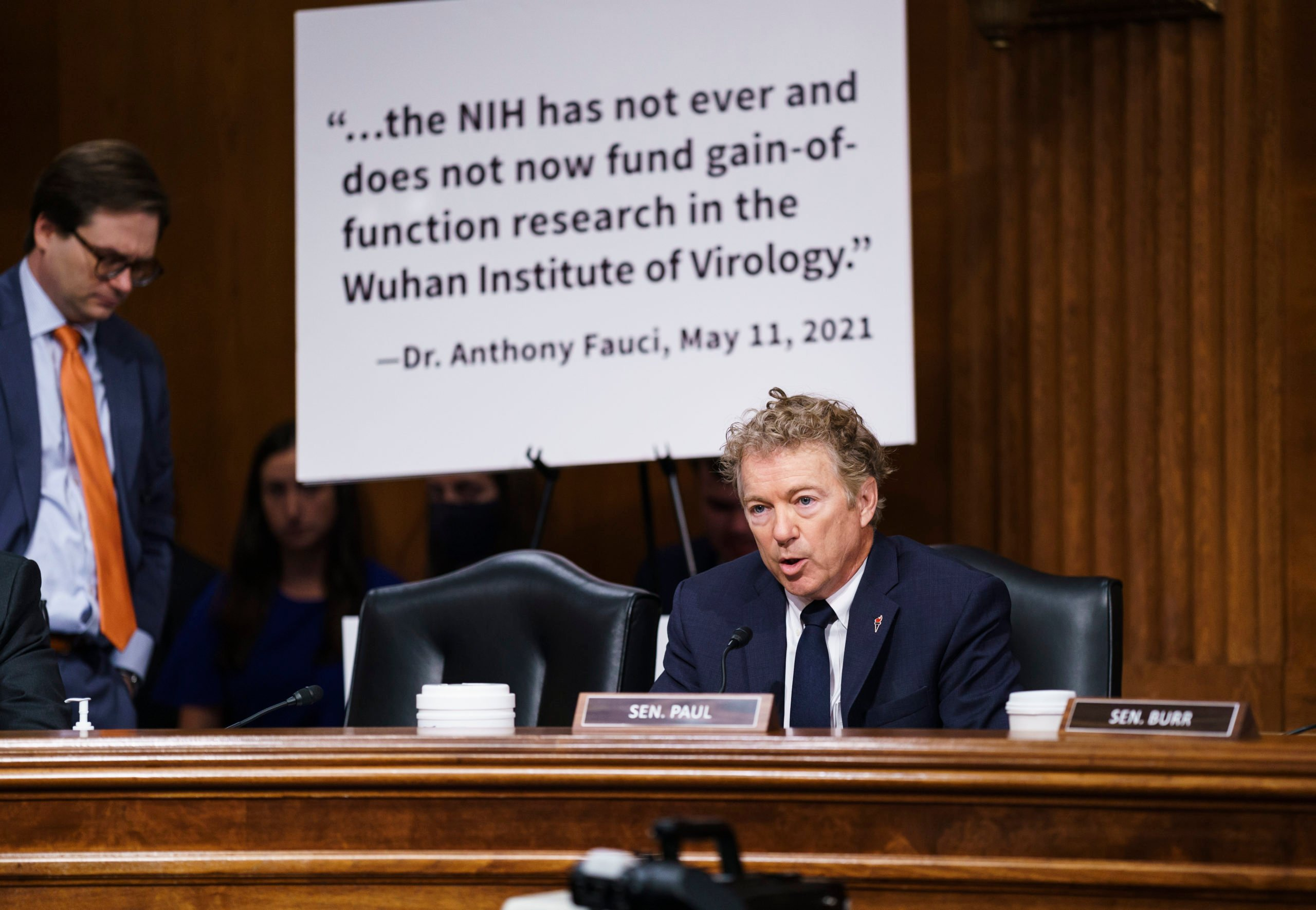 Sen. Rand Paul questions top infectious disease expert Dr. Anthony Fauci during a Senate Health, Education, Labor, and Pensions Committee hearing, July 20, 2021 on Capitol Hill in Washington, DC. (Photo by J. Scott Applewhite-Pool/Getty Images)