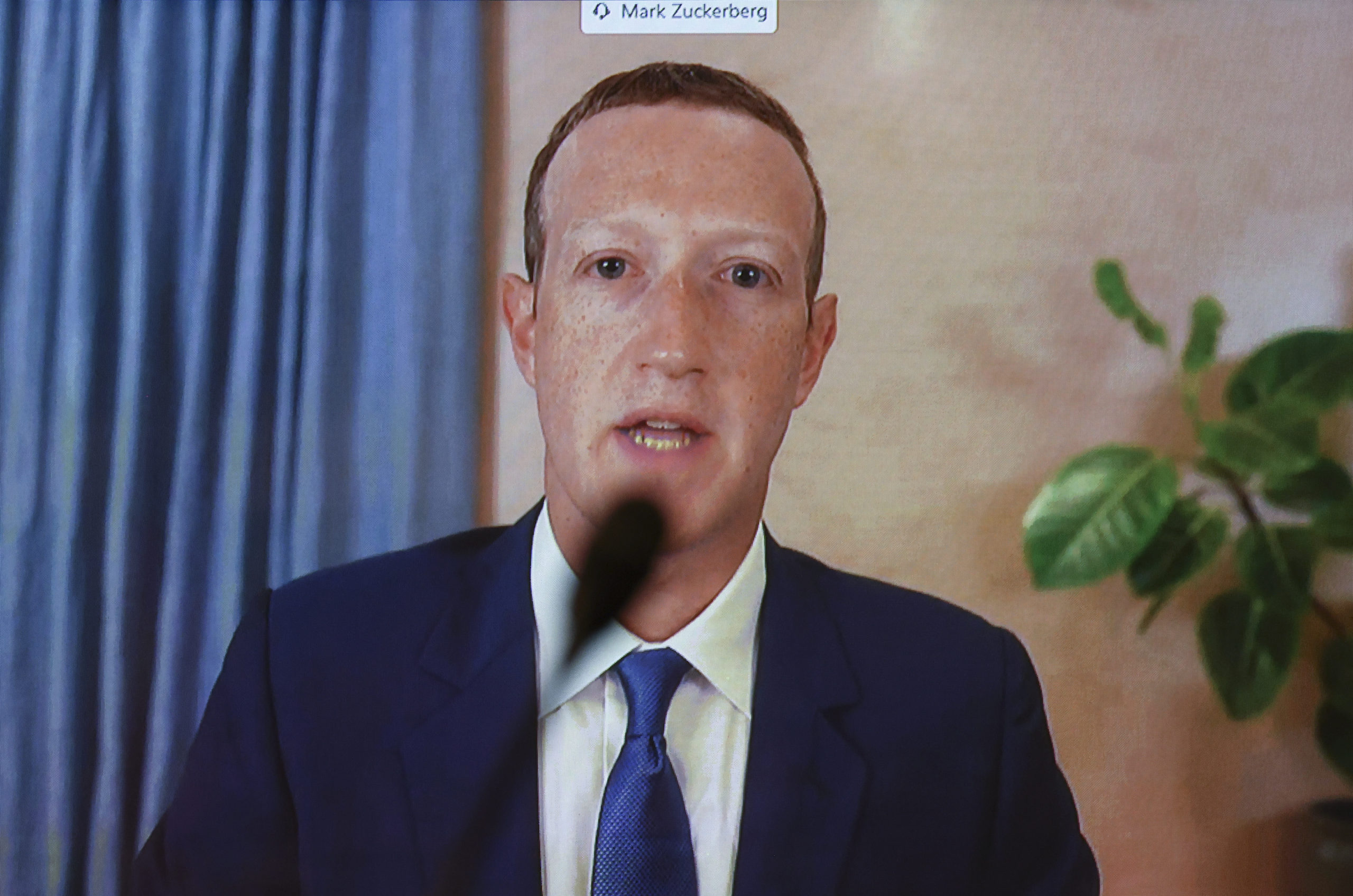 """Facebook CEO Mark Zuckerberg testifies remotely during a Senate Judiciary Committee hearing titled, """"Breaking the News: Censorship, Suppression and the 2020 Election."""" (Photo by Hannah McKay-Pool/Getty Images)"""