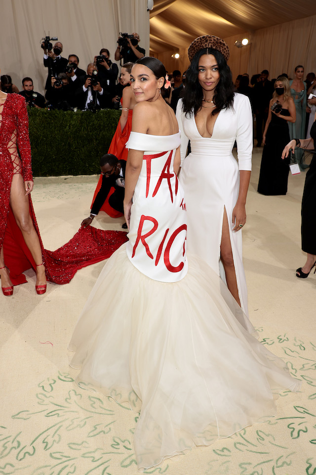 Alexandria Ocasio-Cortez and Aurora James attend The 2021 Met Gala Celebrating In America: A Lexicon Of Fashion at Metropolitan Museum of Art on September 13, 2021 in New York City. (Photo by Dimitrios Kambouris/Getty Images for The Met Museum/Vogue )