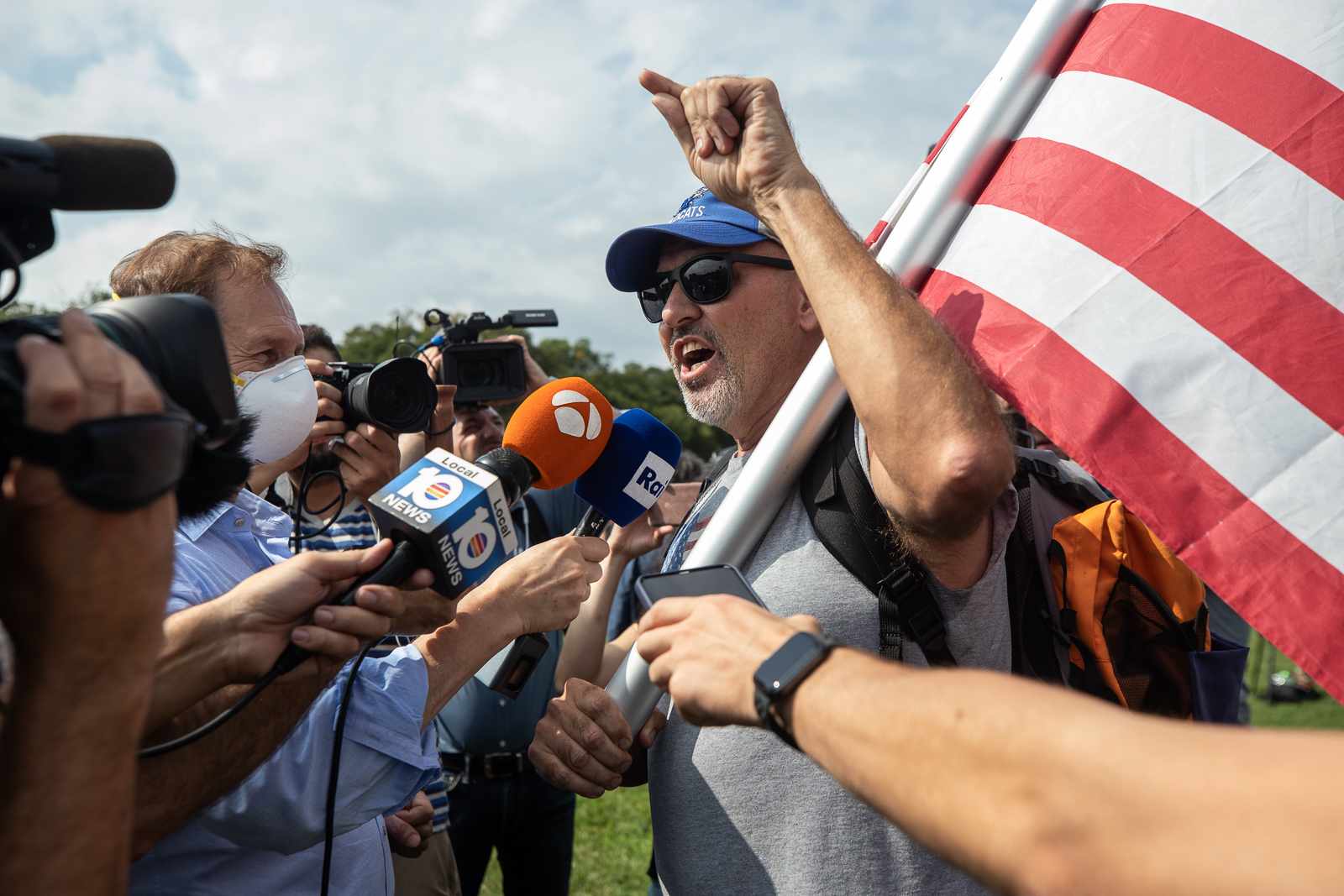 """""""Kentucky Phil"""" told several media outlets he thinks those who were jailed in connection with the Capitol Riot should have already gone to trial while attending the """"Justice for J6"""" rally in Washington, D.C. on September 18, 2021. (Kaylee Greenlee - Daily Caller News Foundation)"""
