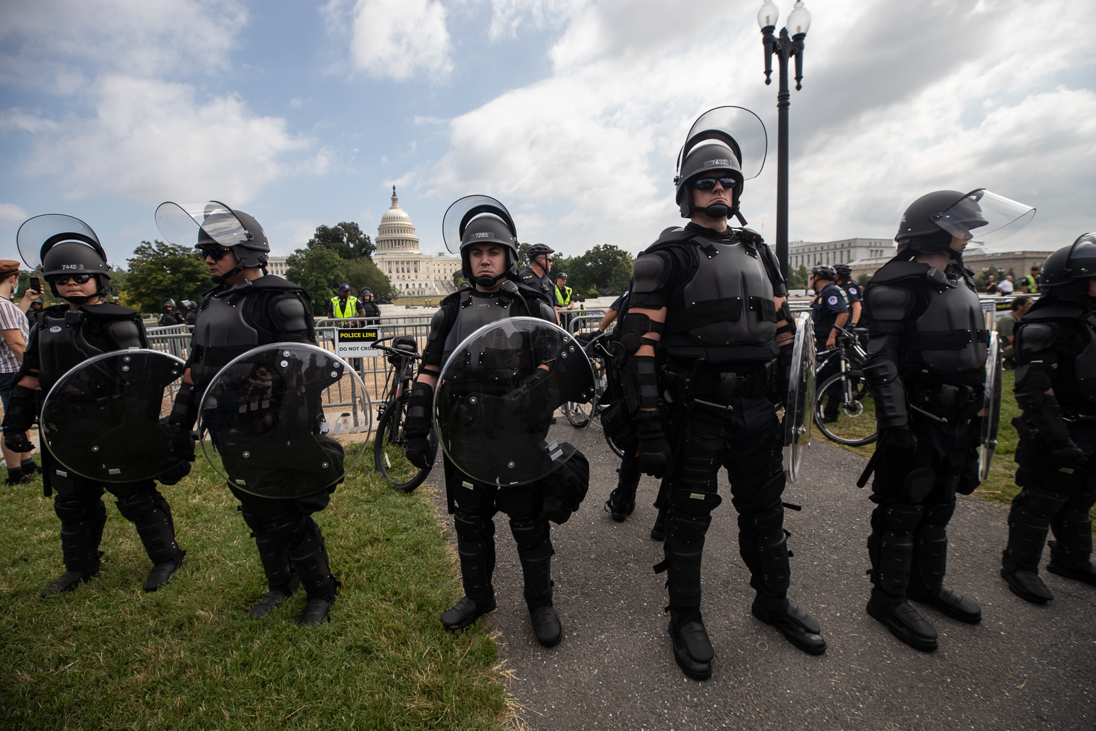 Dozens of law enforcement officicials in full riot gear were deployed to the