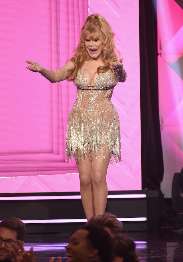 Charo reacts onstage during The 8th Annual Streamy Awards at The Beverly Hilton Hotel on October 22, 2018 in Beverly Hills, California. (Photo by Kevin Winter/Getty Images for Streamy Awards)
