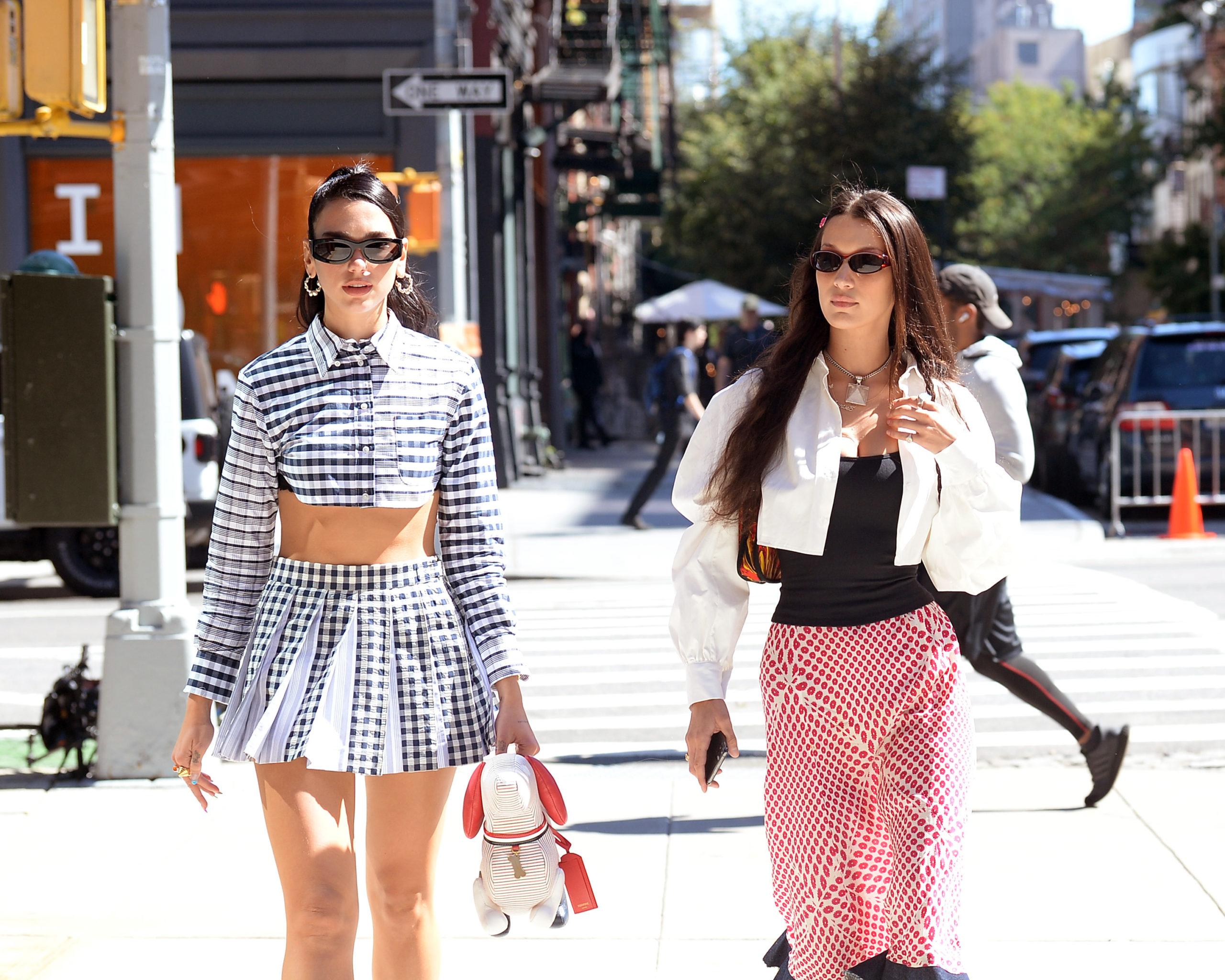 Bella Hadid And Dua Lipa. New York City. (Photo credit: Elder Ordonez / SplashNews.com)
