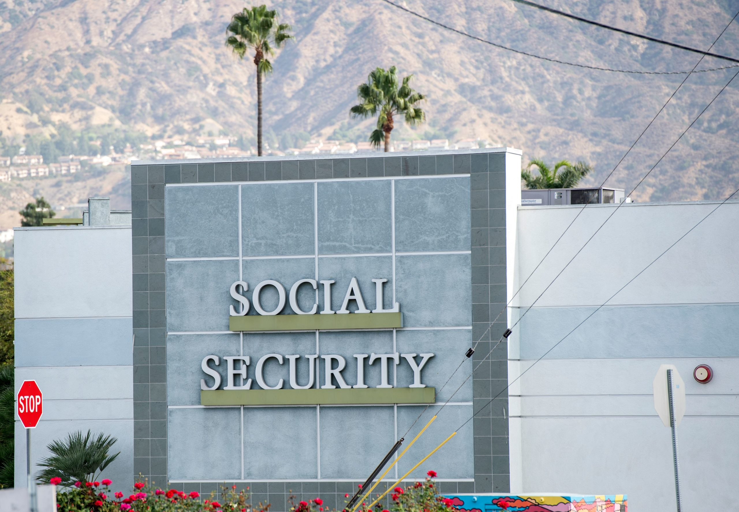A sign is seen outside a Social Security Administration building on Nov. 5, 2020 in Burbank, California. (Valerie Macon/AFP via Getty Images)