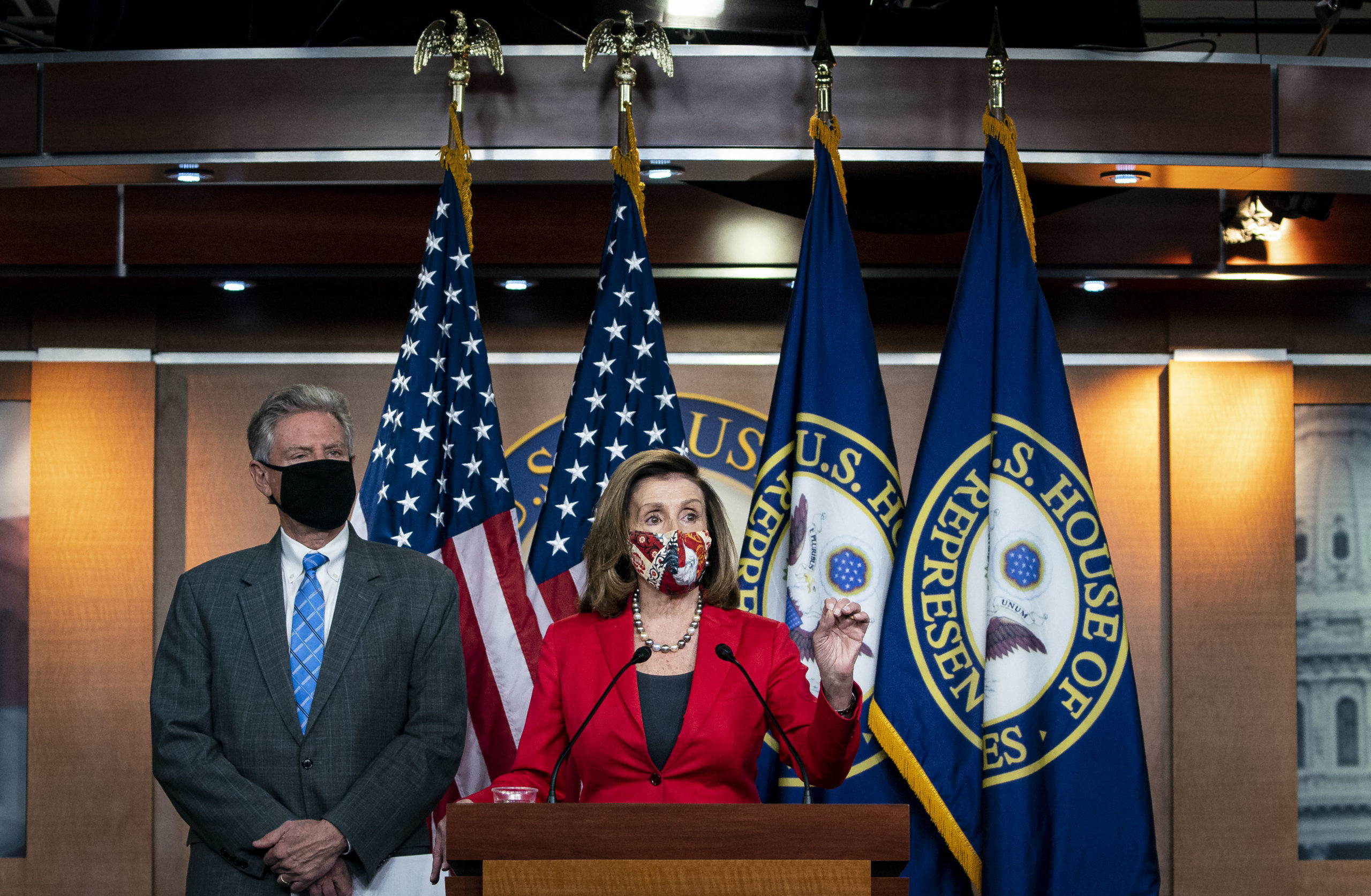 House Speaker Nancy Pelosi speaks alongside Energy and Commerce Committee Chairman Frank Pallone at the Capitol on Nov. 6, 2020. (Al Drago/Getty Images)