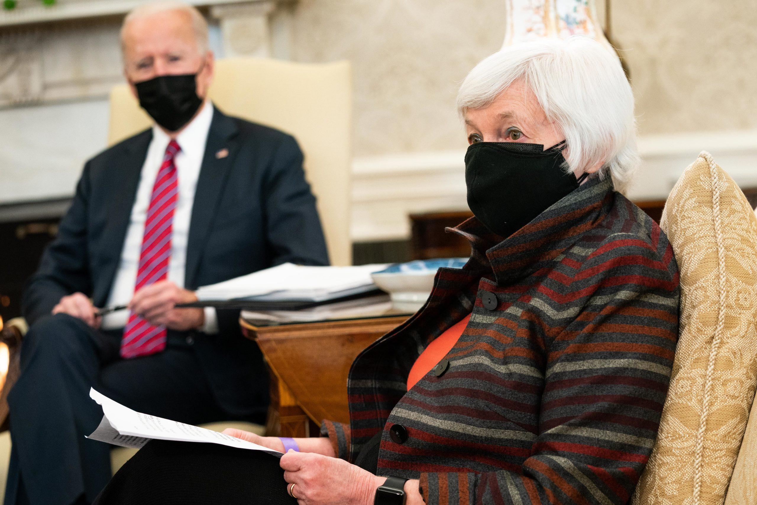 President Biden And Vice President Harris Receive Economic Briefing From Treasury Secretary