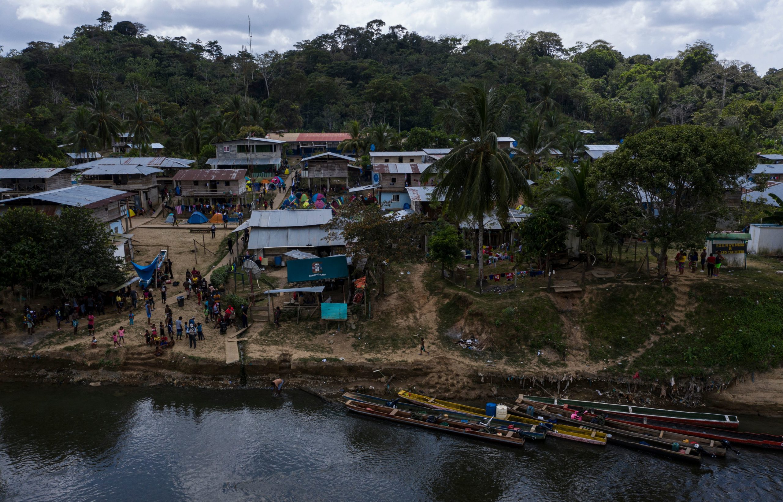 Aerial view of a migrant camp in Bajo Chiquito village, Darien province, Panama on February 10, 2021. (Photo by LUIS ACOSTA/AFP via Getty Images)