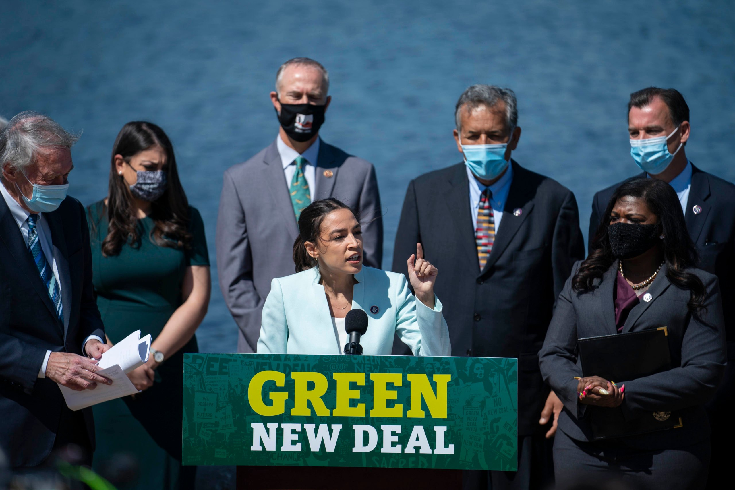 WASHINGTON, DC - APRIL 20: Rep. Alexandria Ocasio-Cortez (D-NY) speaks during a news conference held to re-introduce the Green New Deal at the West Front of the U.S. Capitol on April 20, 2021 in Washington, DC. The news conference was held ahead of Earth Day later this week. (Photo by Sarah Silbiger/Getty Images)
