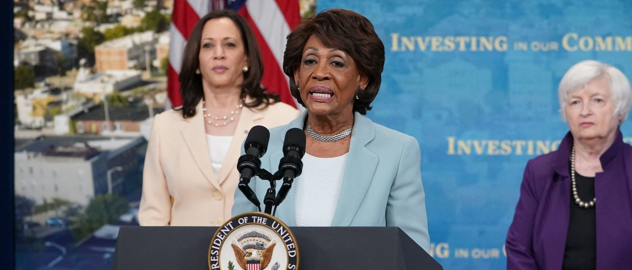Rep. Maxine Waters speaks at the White House on June 15. (Mandel Ngan/AFP via Getty Images)