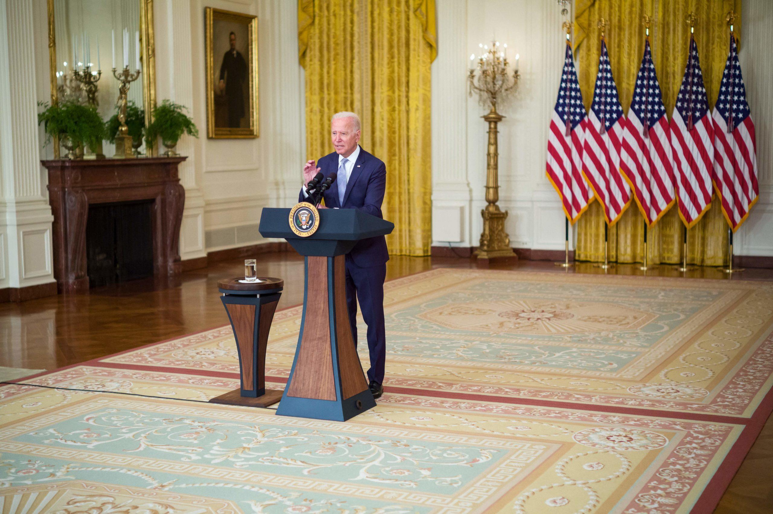 President Joe Biden speaks about his Build Back Better agenda on Aug. 12. (Mandel Ngan/AFP via Getty Images)