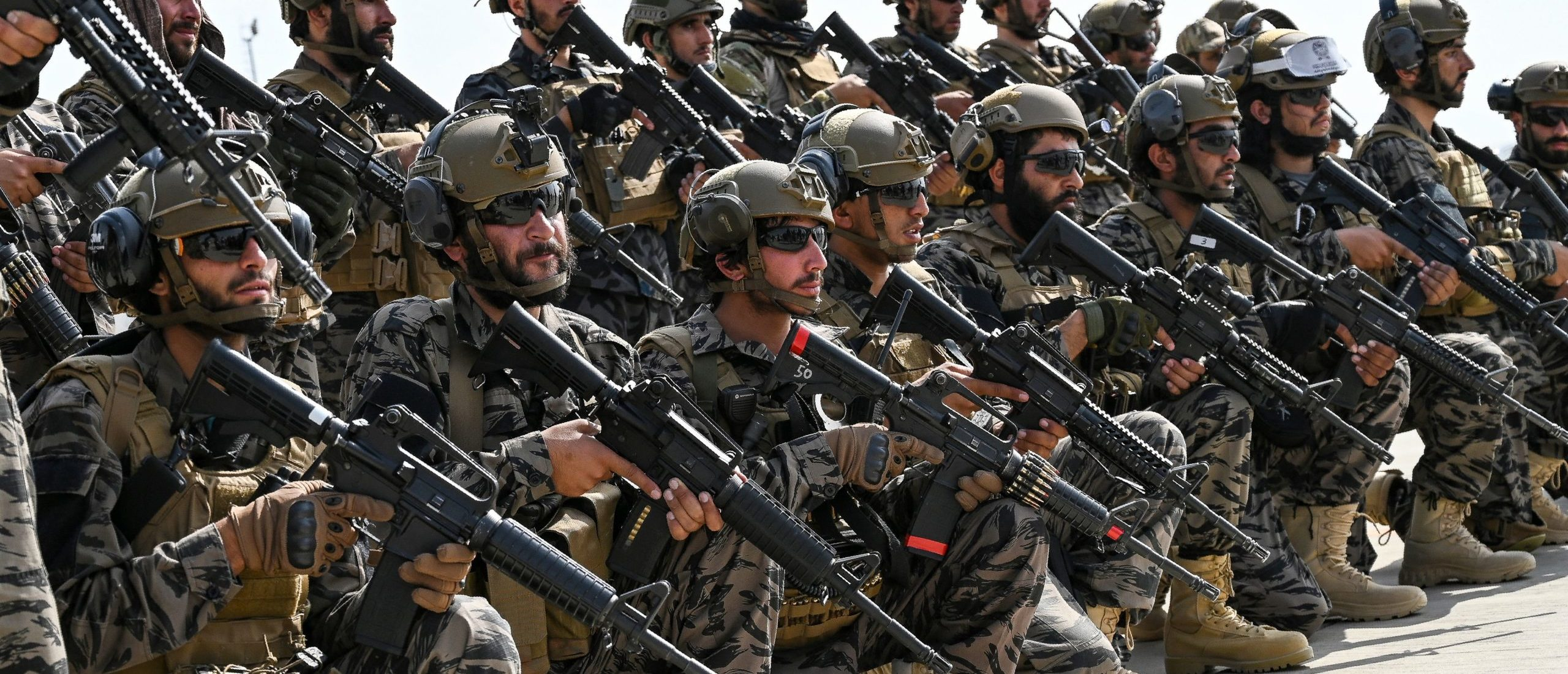 Members of the Taliban Badri 313 military unit take a position at the airport in Kabul on Aug. 31. (Wakil Kohsar/AFP via Getty Images)
