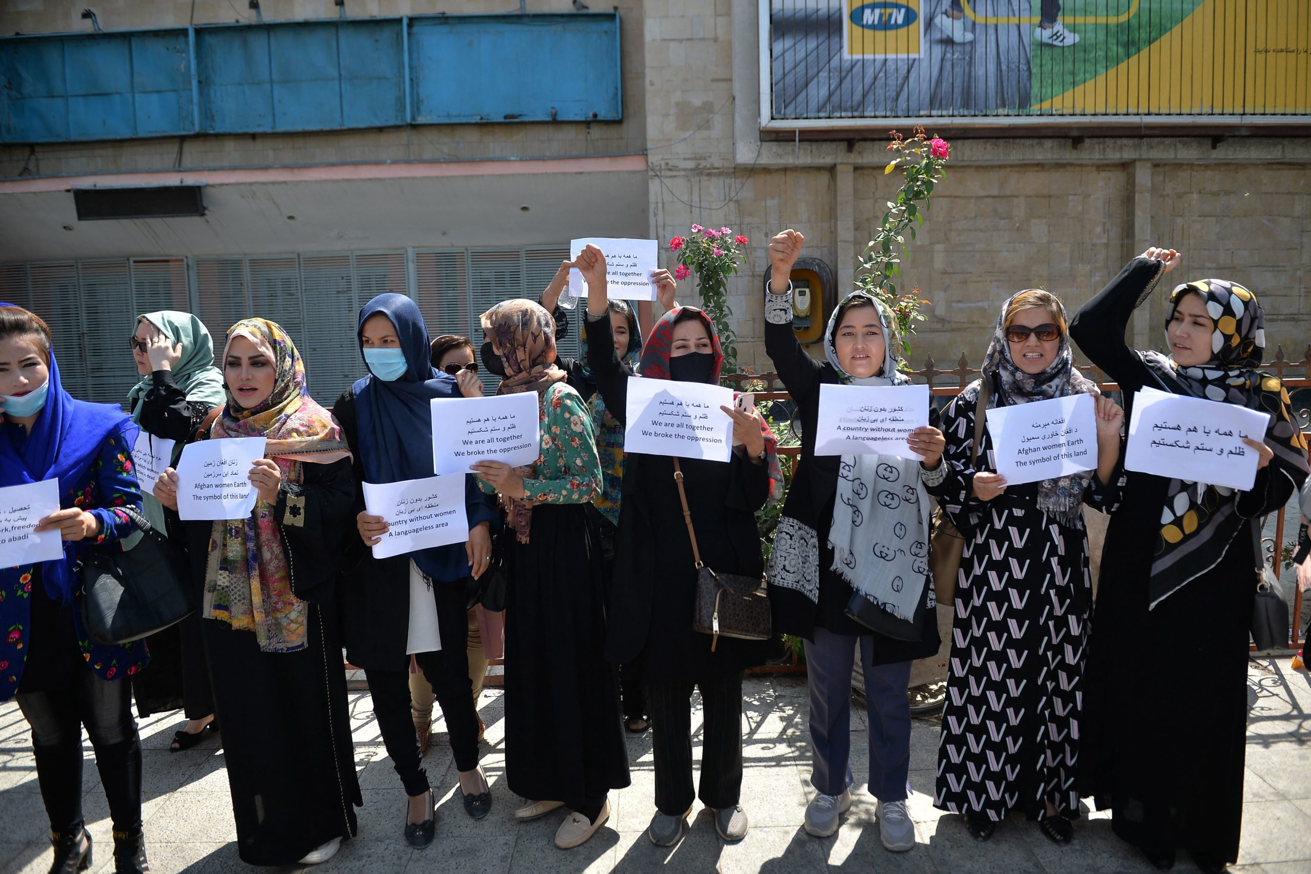 Afghan women take part in a protest march for their rights under the Taliban rule in the downtown area of Kabul on September 3, 2021. (Photo by HOSHANG HASHIMI/AFP via Getty Images)