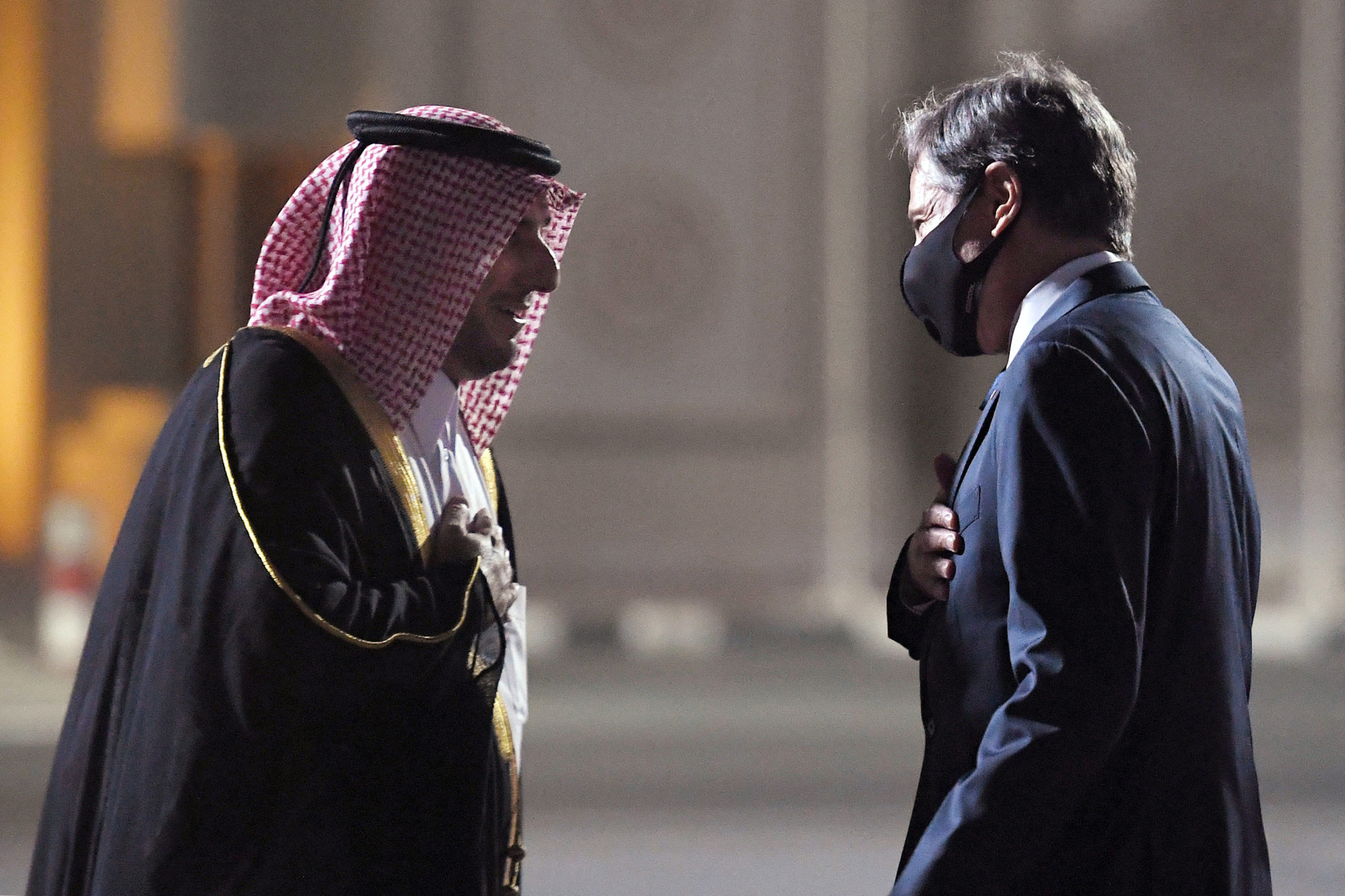 US Secretary of State Antony Blinken is welcomed upon his arrival by MFA Director of Protocol Ambassador Ibrahim Fakhro at Old Doha Airport in Qatar's capital on September 6, 2021. (Photo by OLIVIER DOULIERY/POOL/AFP via Getty Images)