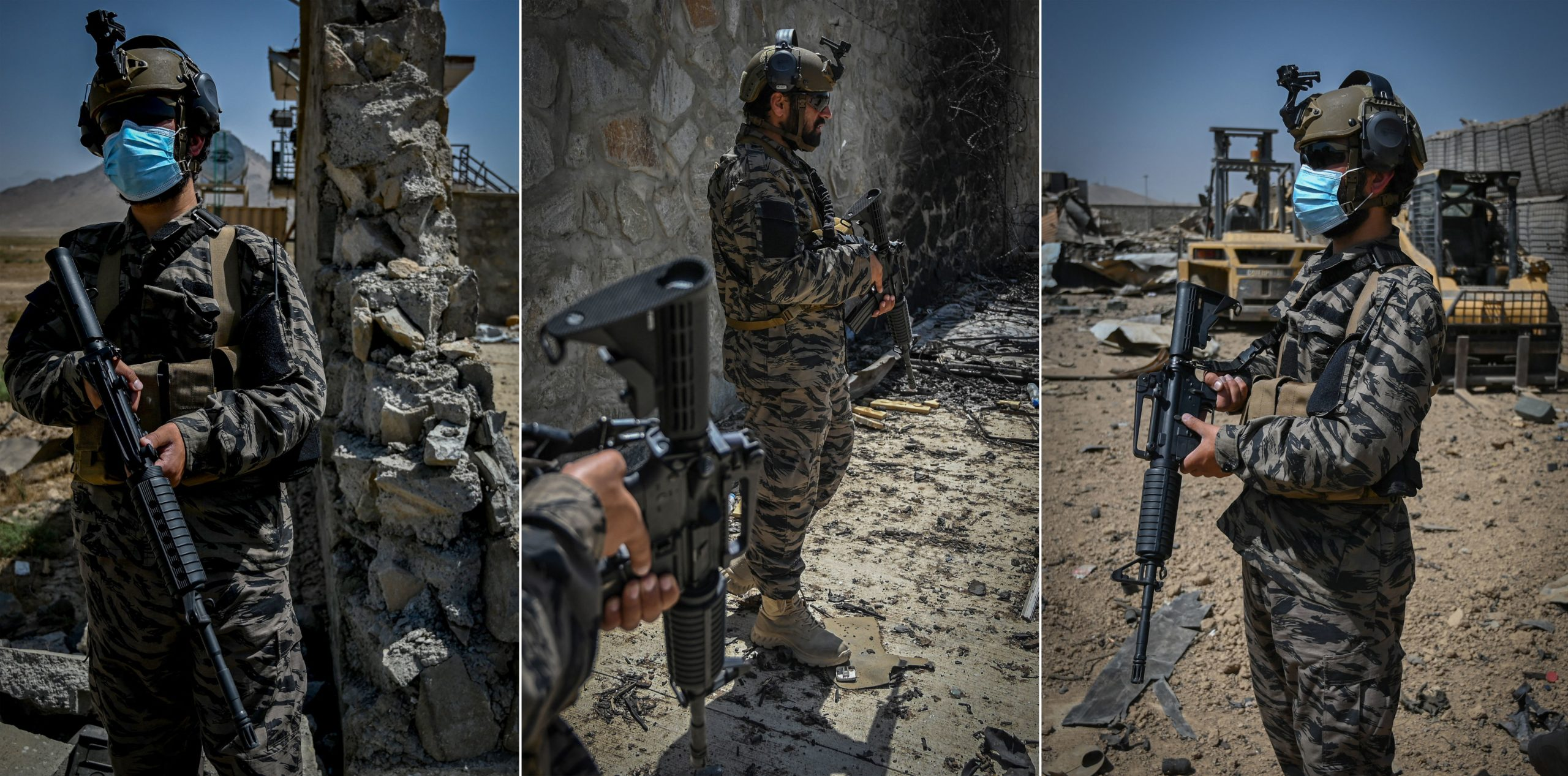 A compilation of photos shows members of the Taliban Badri 313 military unit wearing U.S. gear standing guard outside the debris of the destroyed Central Intelligence Agency base in Kabul, Afghanistan. (Aamir Qureshi/AFP via Getty Images)