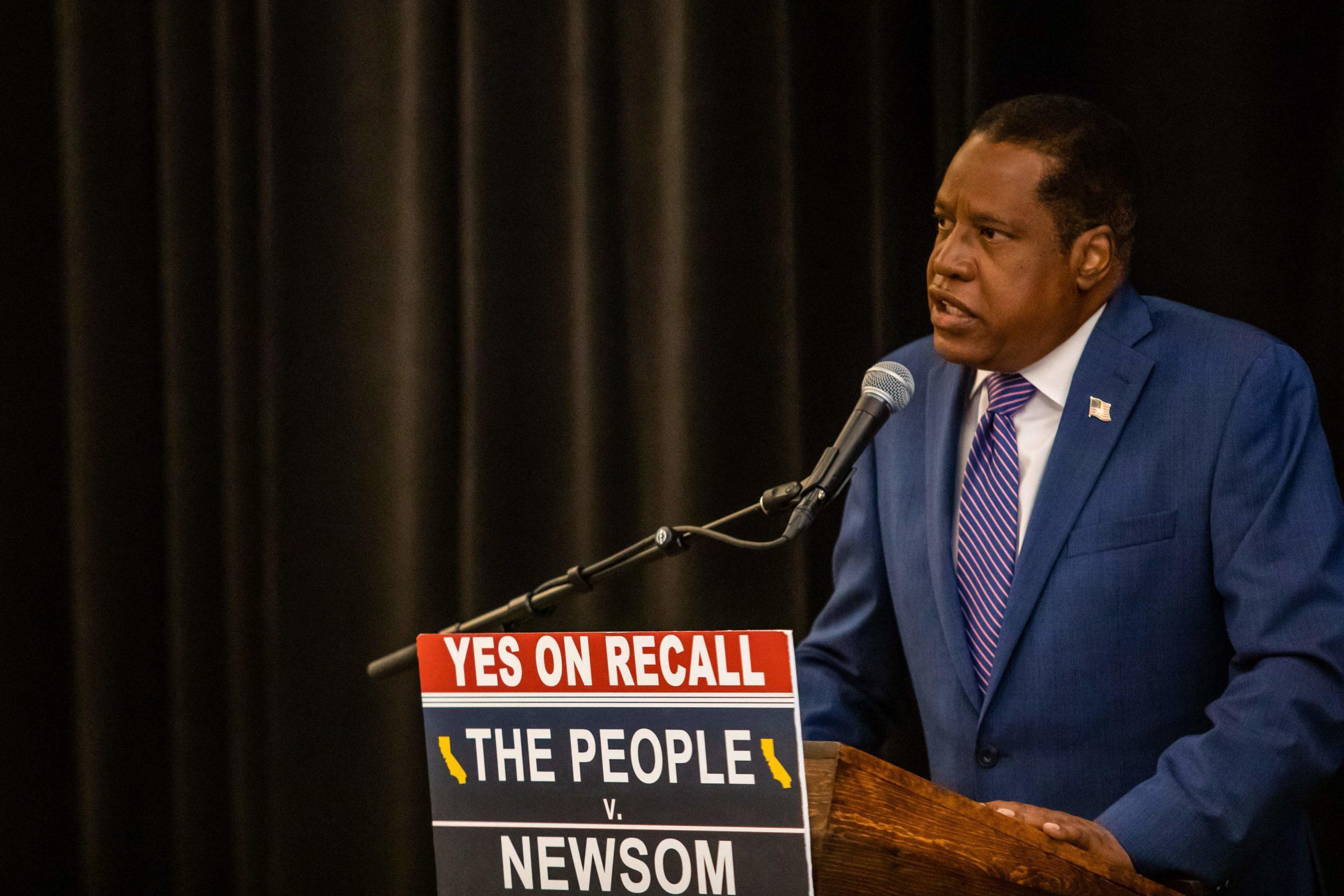 Larry Elder speaks on September 12 in Los Angeles. (APU GOMES/AFP via Getty Images)