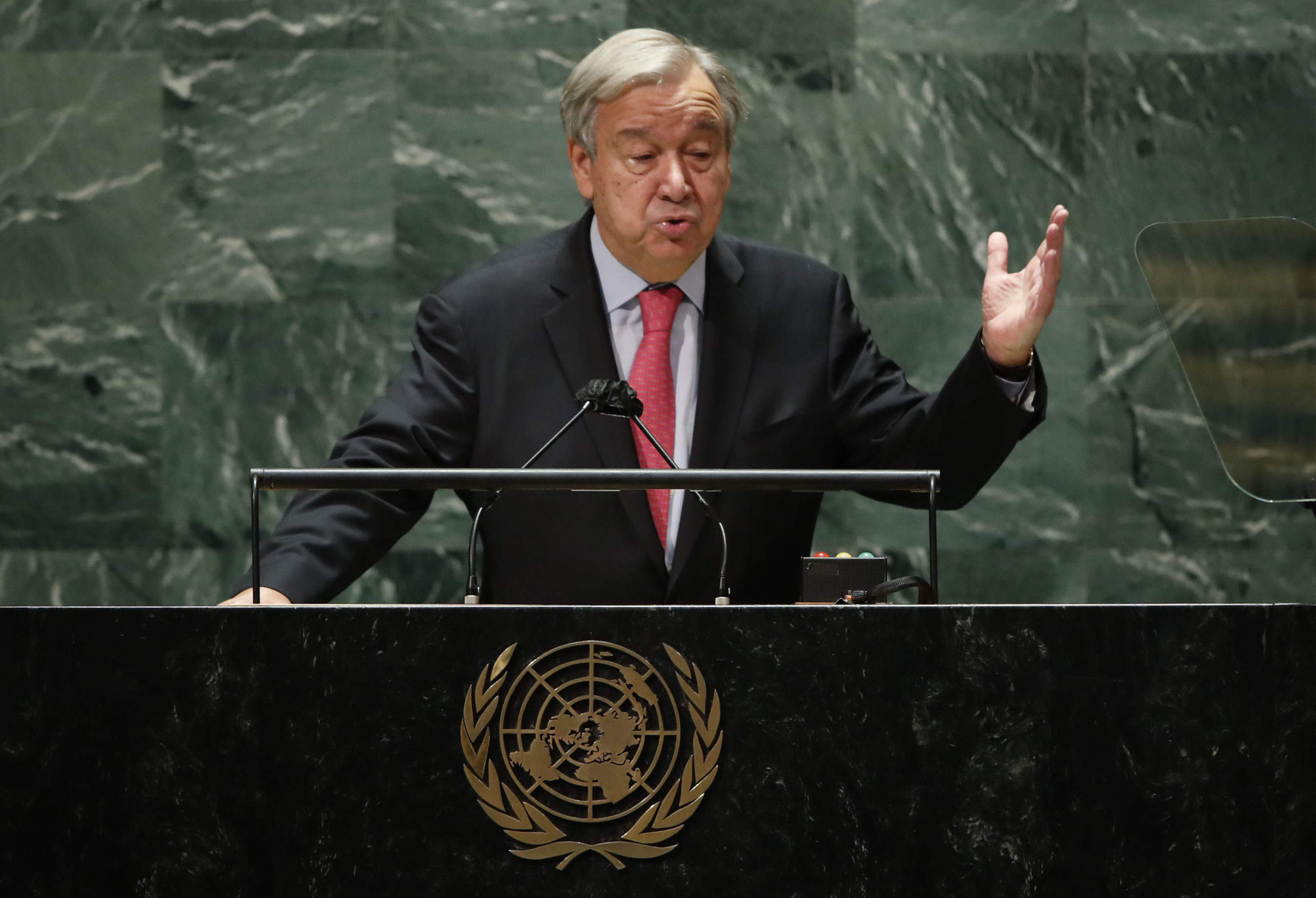 NEW YORK, NEW YORK - SEPTEMBER 21: United Nations Secretary-General Antonio Guterres addresses the 76th Session of the U.N. General Assembly on September 21, 2021 at U.N. headquarters in New York City. More than 100 heads of state or government are attending the session in person, although the size of delegations is smaller due to the Covid-19 pandemic. (Photo by Eduardo Munoz-Pool/Getty Images)