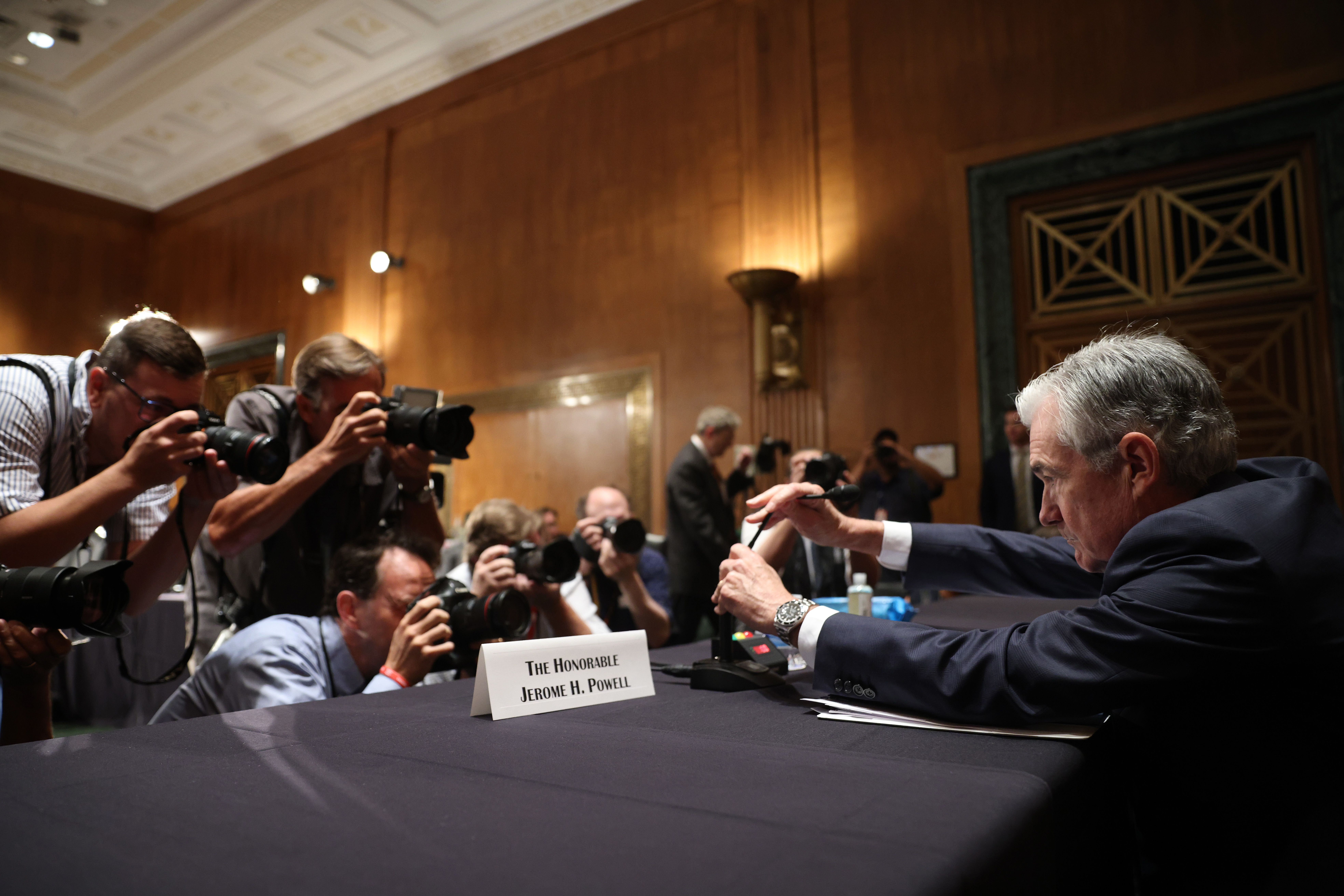 Federal Reserve Chairman Jerome Powell appears at a Senate Banking Committee hearing on July 15. (Win McNamee/Getty Images)