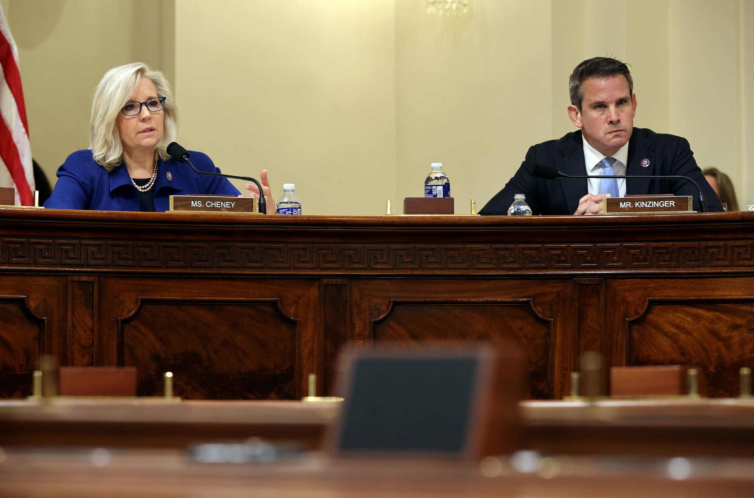 Reps. Liz Cheney and Adam Kinzinger during a Jan. 6th committee hearing in July. (Chip Somodevilla/Getty Images)