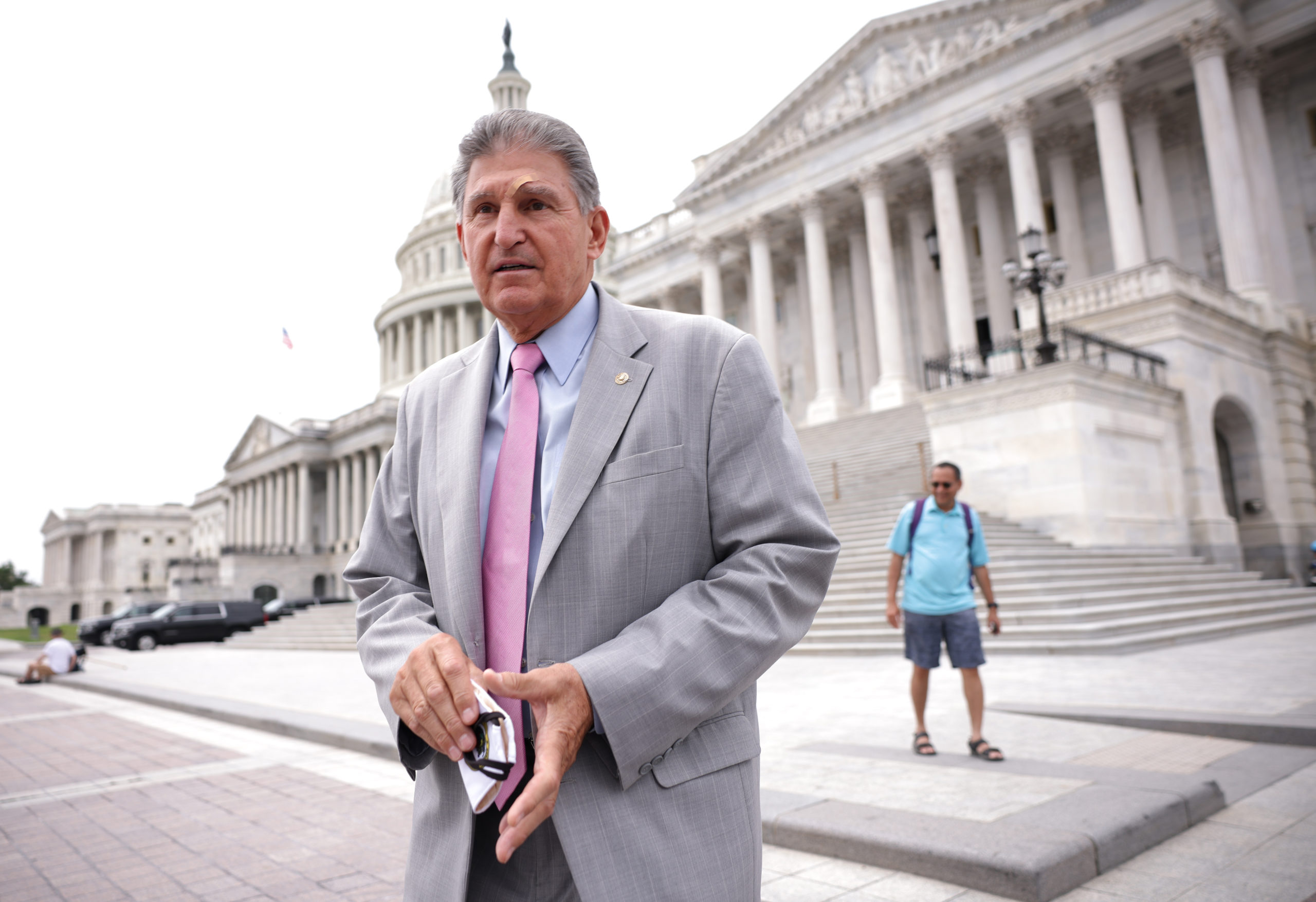 Sen. Joe Manchin in August. He has said he will not support a $3.5 trillion bill, citing the economy's strength, inflation and the national debt. (Kevin Dietsch/Getty Images)