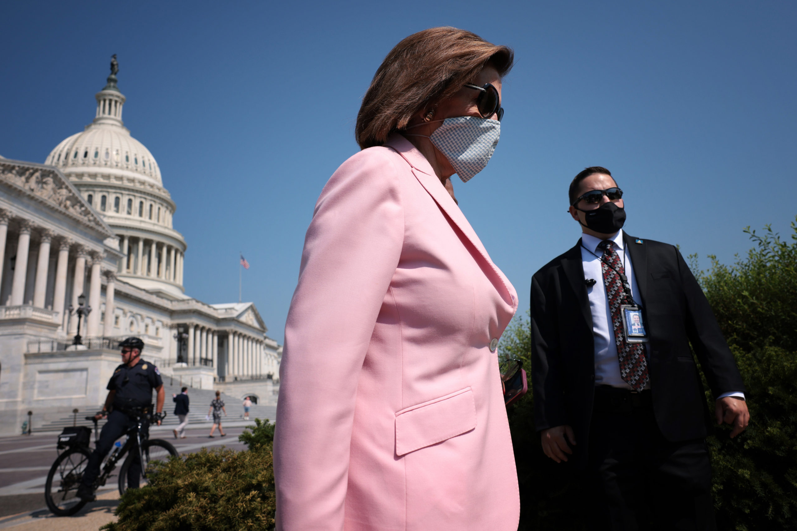 U.S. Speaker of the House Nancy Pelosi (D-CA) arrives for a press conference with members of the Poor People's Campaign outside the U.S. Capitol August 25, 2021 in Washington, DC. (Photo by Win McNamee/Getty Images)