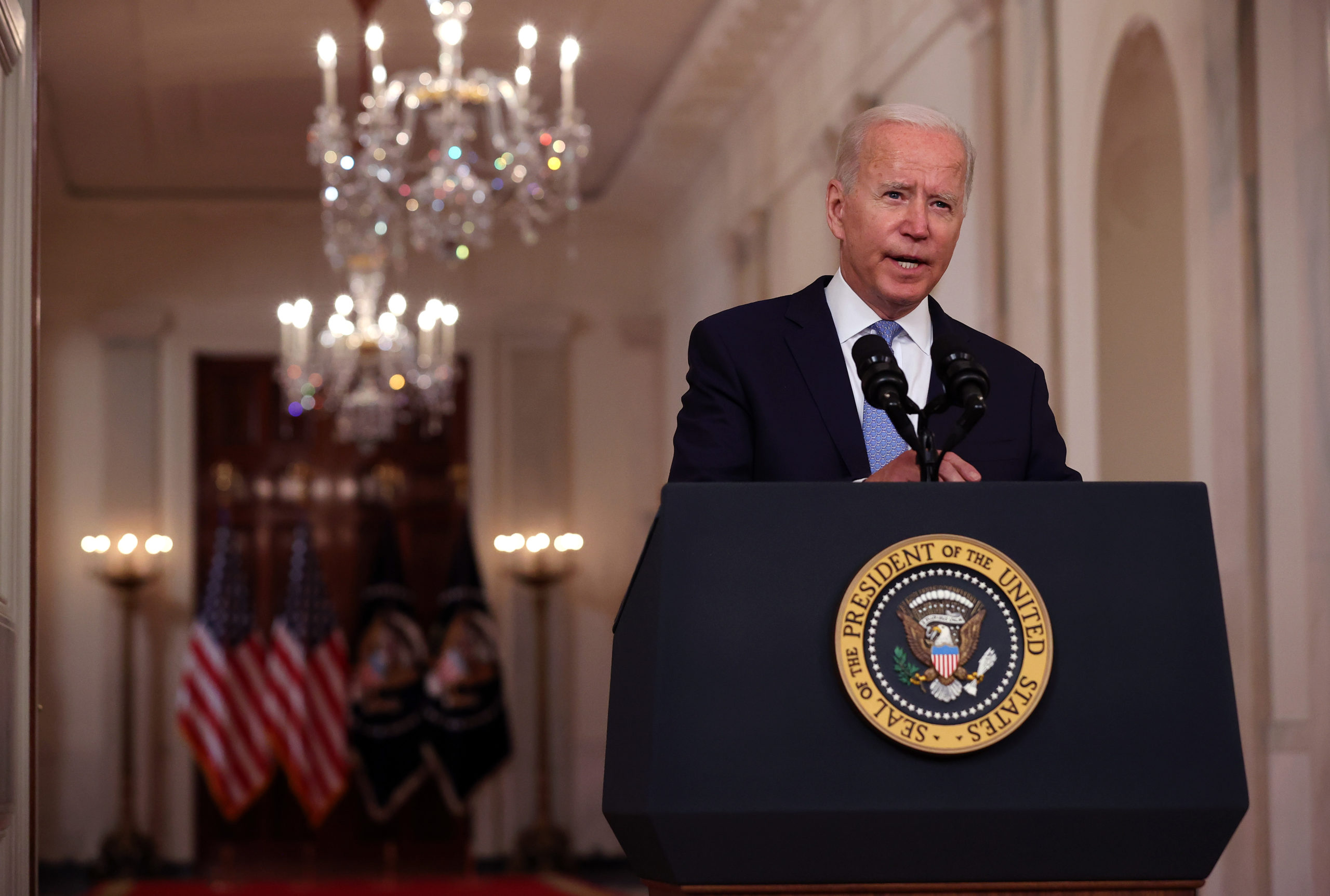 WASHINGTON, DC - AUGUST 31: U.S. President Joe Biden delivers remarks on the end of the war in Afghanistan in the State Dining Room at the White House on August 31, 2021 in Washington, DC. The last American military aircraft took off from Hamid Karzai Airport a few minutes before midnight in Kabul, marking the end of U.S. military presence in Afghanistan since the invasion following the attacks of September 11, 2001. (Photo by Chip Somodevilla/Getty Images)