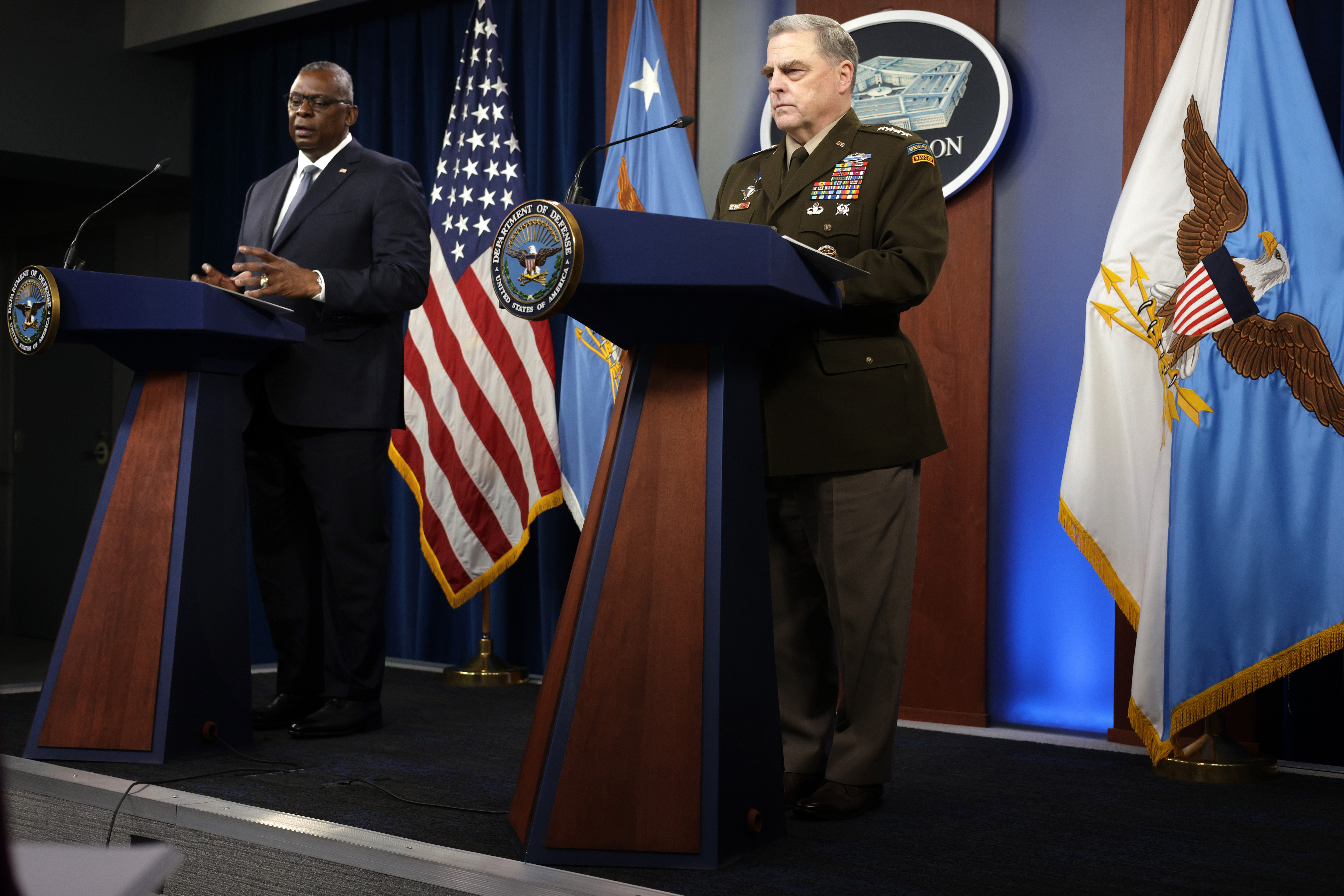 Secretary Austin And Chairman Milley Deliver Remarks On Ending Afghanistan War