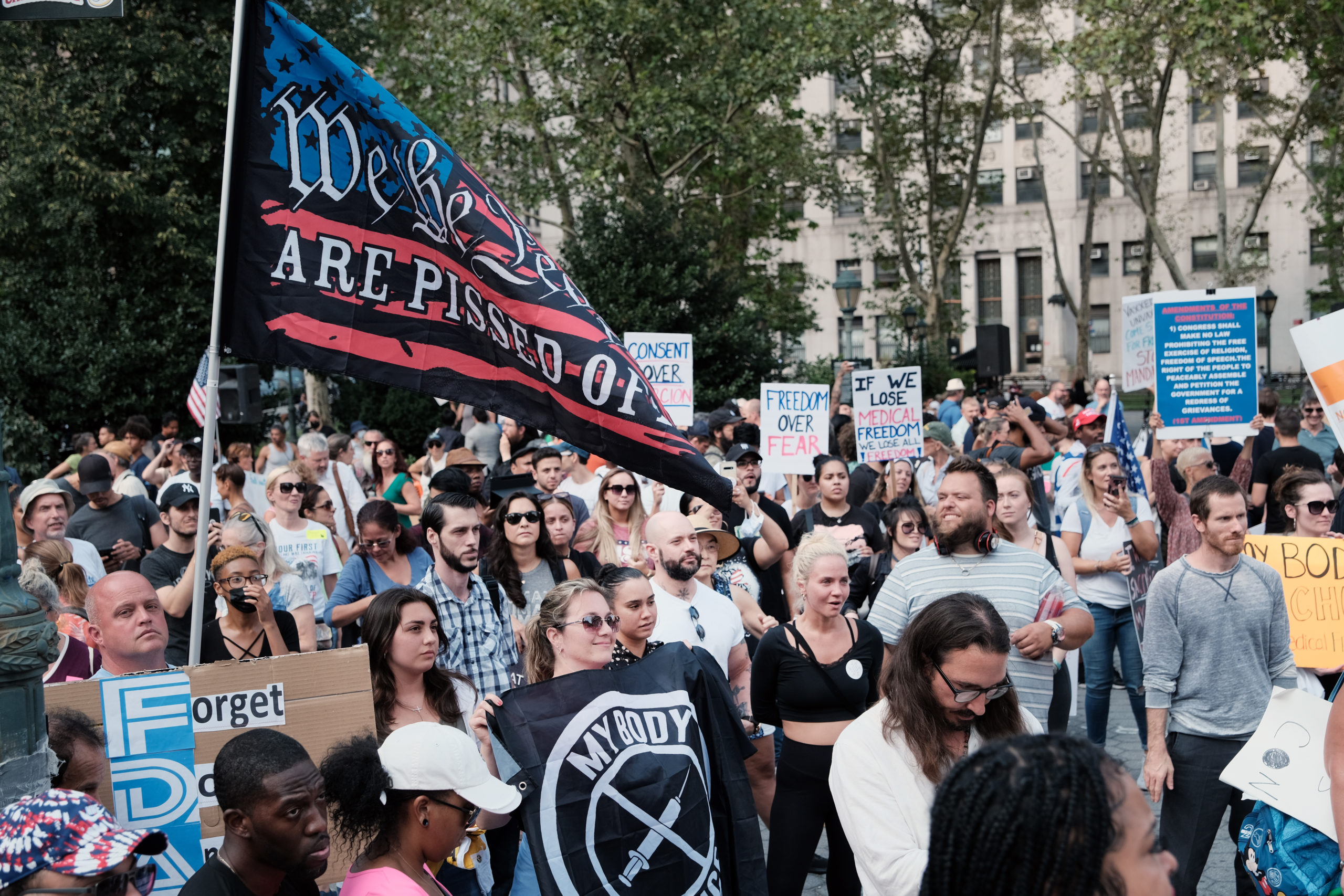 People participate in a rally and march against COVID-19 vaccine mandates on Monday in New York City. (Spencer Platt/Getty Images)