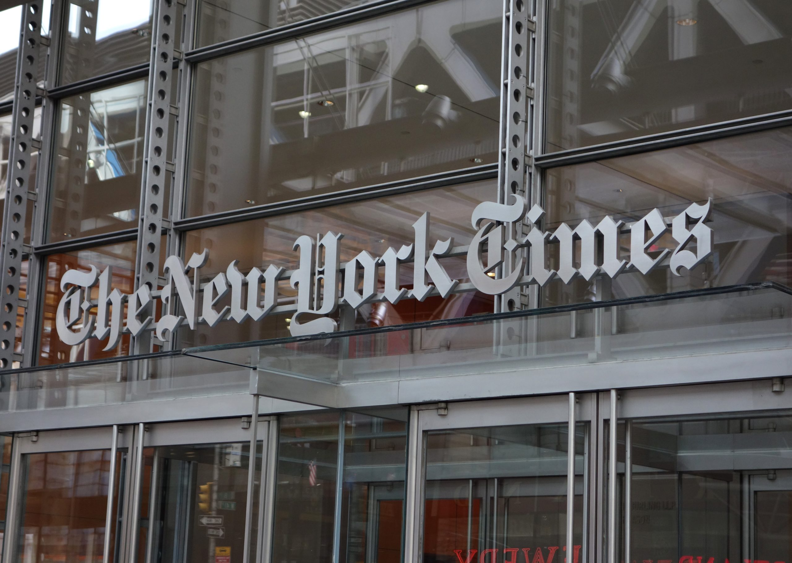 The New York Times building is pictured in 2016 in New York City. (Don Emmert/AFP via Getty Images)