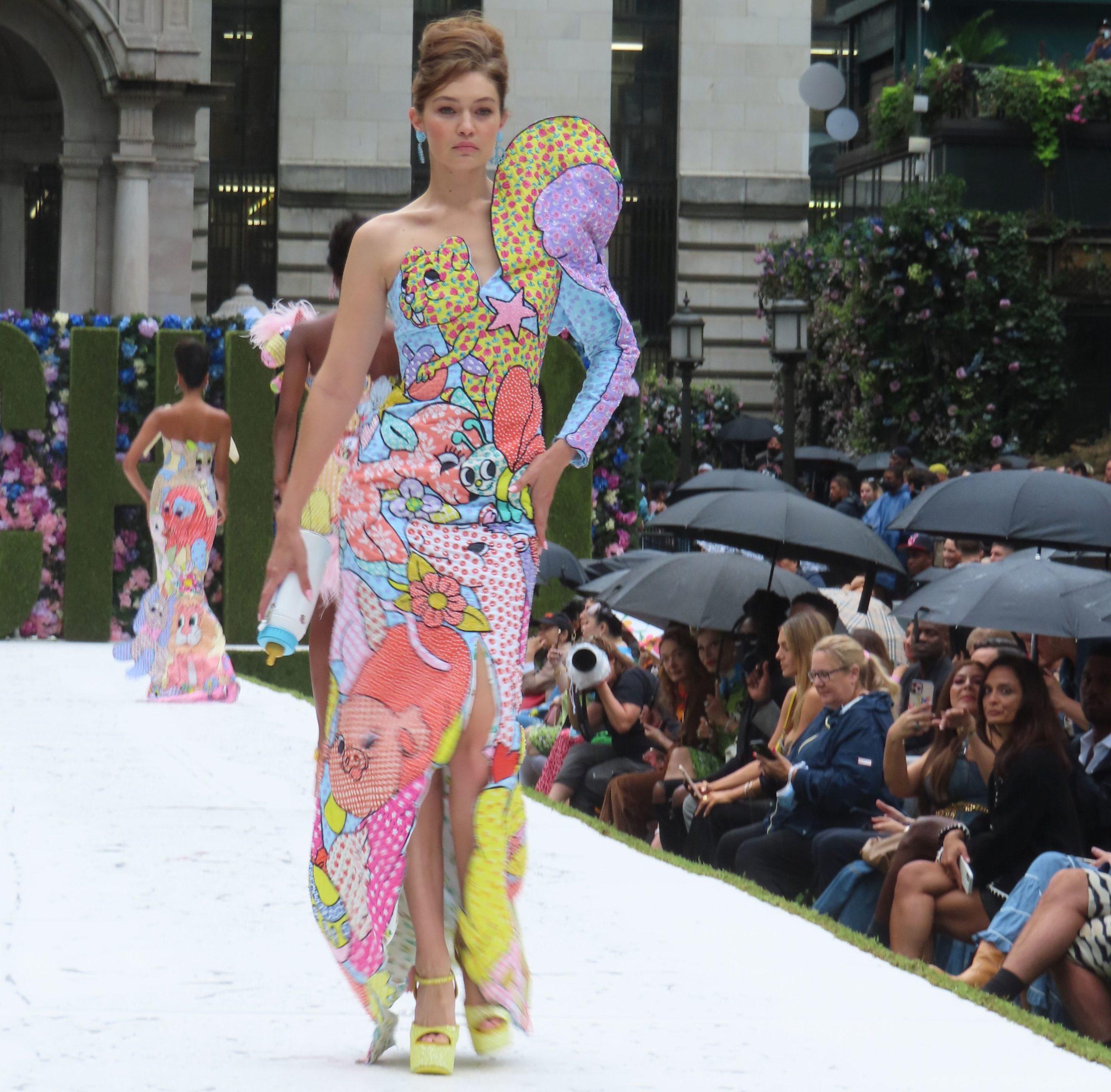 Gigi Hadid Moschino fashion show in NYC. (Photo credit: Rick Davis / SplashNews.com)