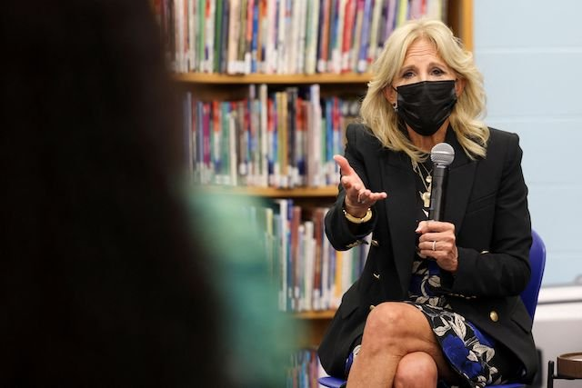 US First Lady Jill Biden visits Marvin E. Pratt Elementary School on September 15, 2021 in Milwaukee, Wisconsin. - First Lady Jill Biden is attending a listening session with educators and parents to discuss the return of in-person learning and the Covid-19 safety measures involved. (Photo by EVELYN HOCKSTEIN/POOL/AFP via Getty Images)