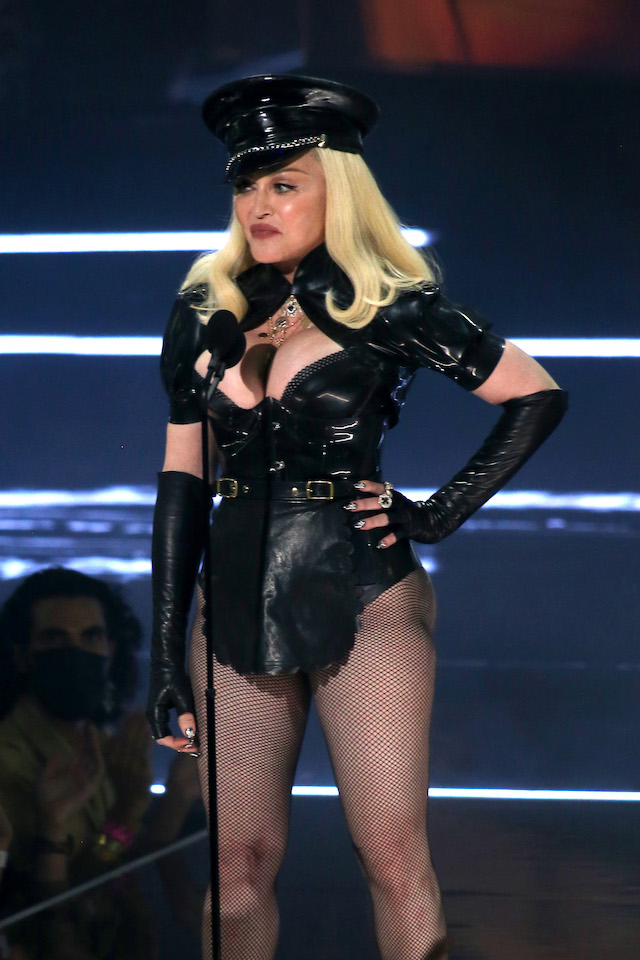 Madonna speaks onstage during the 2021 MTV Video Music Awards at Barclays Center on September 12, 2021 in the Brooklyn borough of New York City. (Photo by Bennett Raglin/Getty Images)
