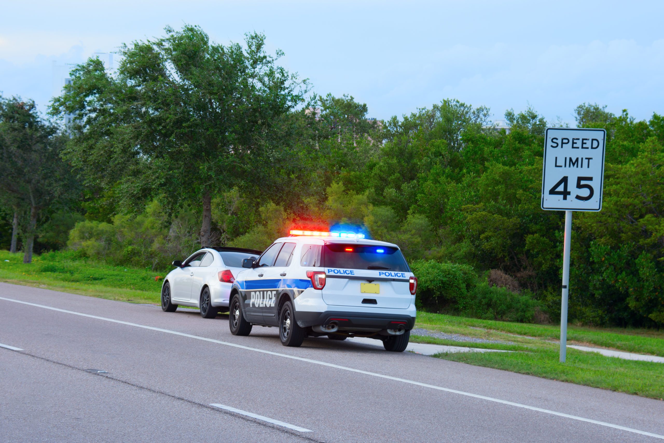 Police vehicle pulls over car [Mike Focus/Shutterstock]