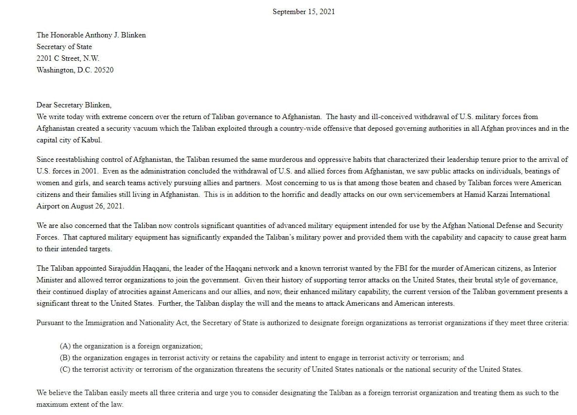 Letter from GOP Senators to Antony Blinken demanding he designate the Taliban as a terrorist organization. (Screenshot/Sen. Joni Ernst)