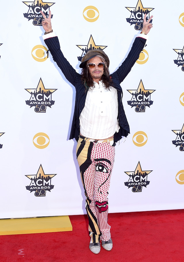 Musician Steven Tyler of Aerosmith attends the 50th Academy of Country Music Awards at AT&T Stadium on April 19, 2015 in Arlington, Texas. (Photo by Jason Merritt/Getty Images)