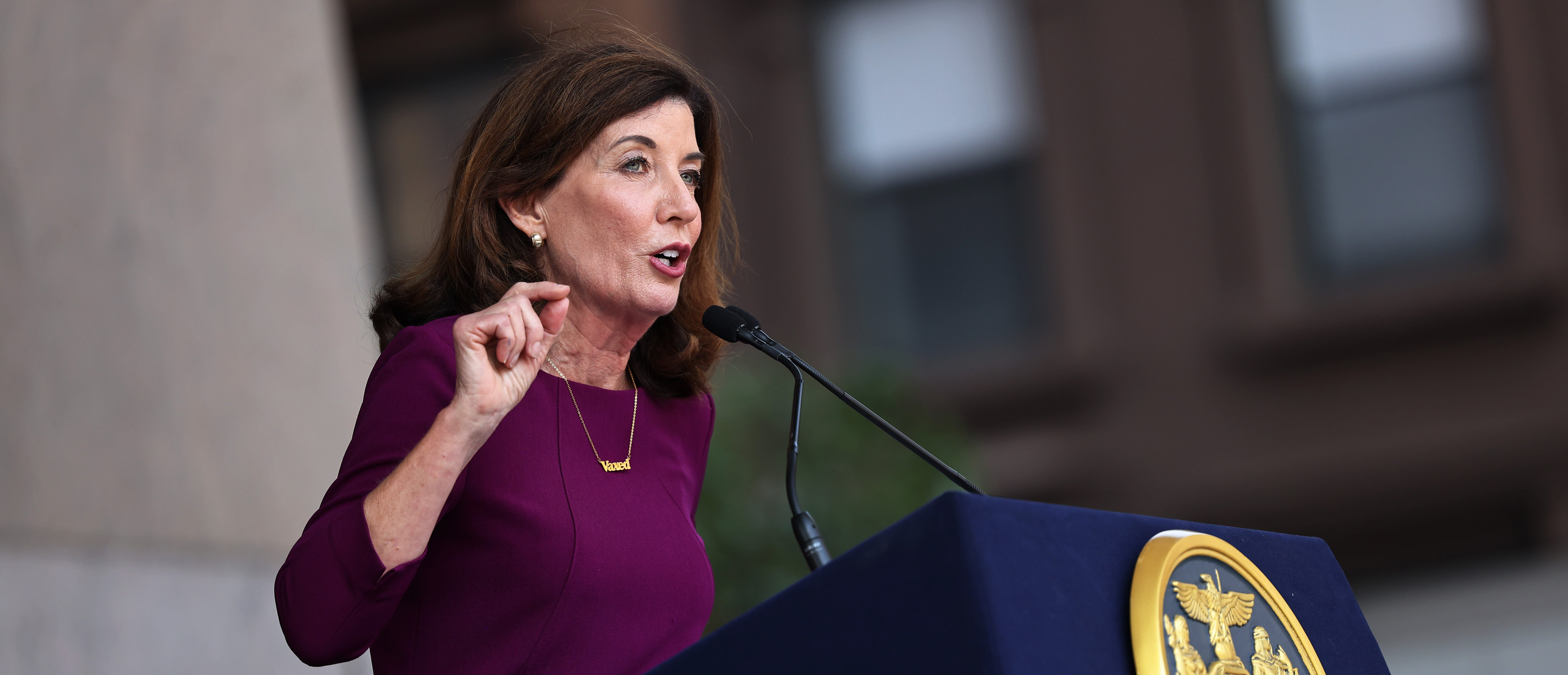 NEW YORK, NEW YORK - AUGUST 26: New York Gov. Kathy Hochul speaks during a press conference announcing State Senator Brian Benjamin as her Lt. Governor on August 26, 2021 in New York City. Senator Benjamin, who placed fourth in the Democratic primary for city comptroller earlier this year, will replace Hochul who was sworn in as Governor this week after the resignation of former Gov. Andrew Cuomo. Senator Benjamin has been a lead sponsor and advocate for criminal and police reforms that includes the Eric Garner Anti-Chokehold Act and the Less is More Act, which restricts the use of incarceration for non-criminal technical parole violations. He has also been a proponent of affordable housing. (Photo by Michael M. Santiago/Getty Images)