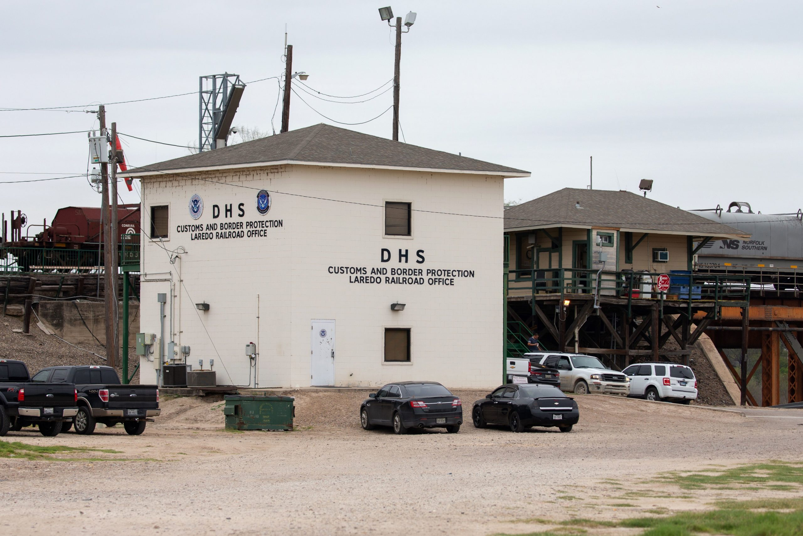 A train passes by the Customs and Border Protection office next to the Texas Mexican Railway International Bridge on January 14, 2019 in Laredo, Texas. (Photo by SUZANNE CORDEIRO / AFP) (Photo credit should read SUZANNE CORDEIRO/AFP via Getty Images)