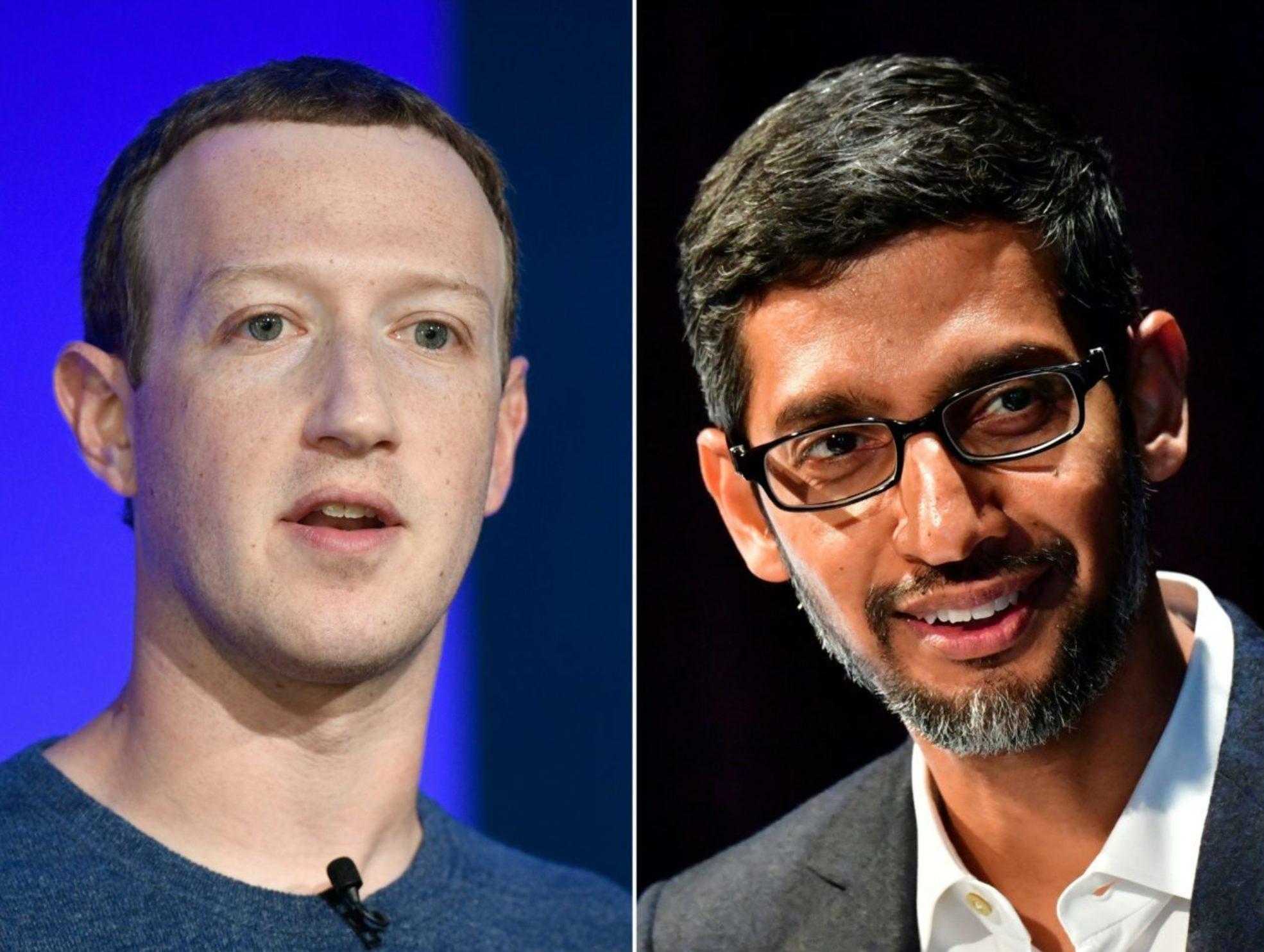 Facebook CEO Mark Zuckerberg alongside Google CEO Sundar Pichai. (Photo by BERTRAND GUAY,TOBIAS SCHWARZ,ANGELA WEISS,MARK RALSTON/AFP via Getty Images)