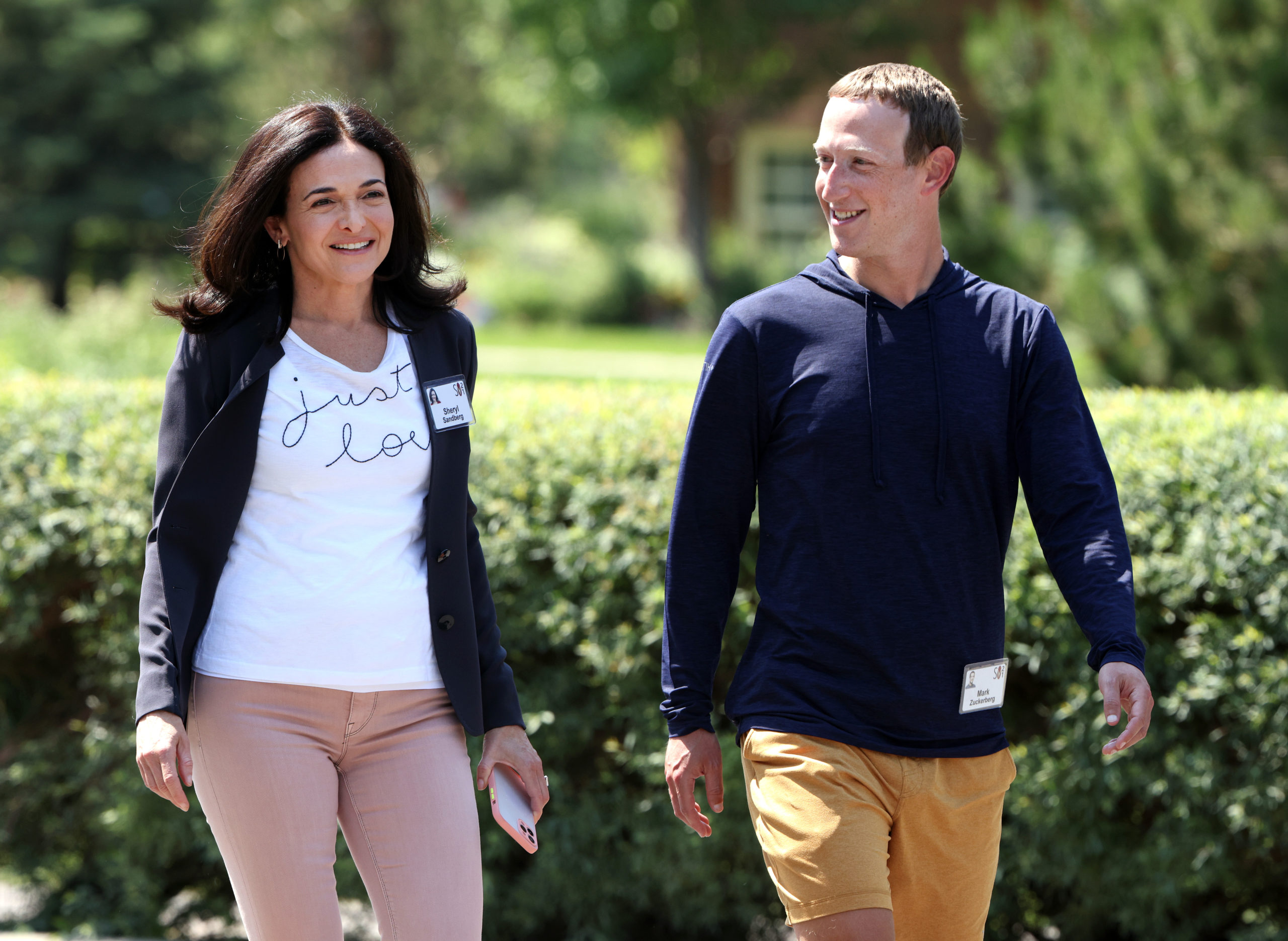 CEO of Facebook Mark Zuckerberg walks with COO of Facebook Sheryl Sandberg after a session at the Allen and Company Sun Valley Conference on July 08, 2021 in Sun Valley, Idaho. (Photo by Kevin Dietsch/Getty Images)