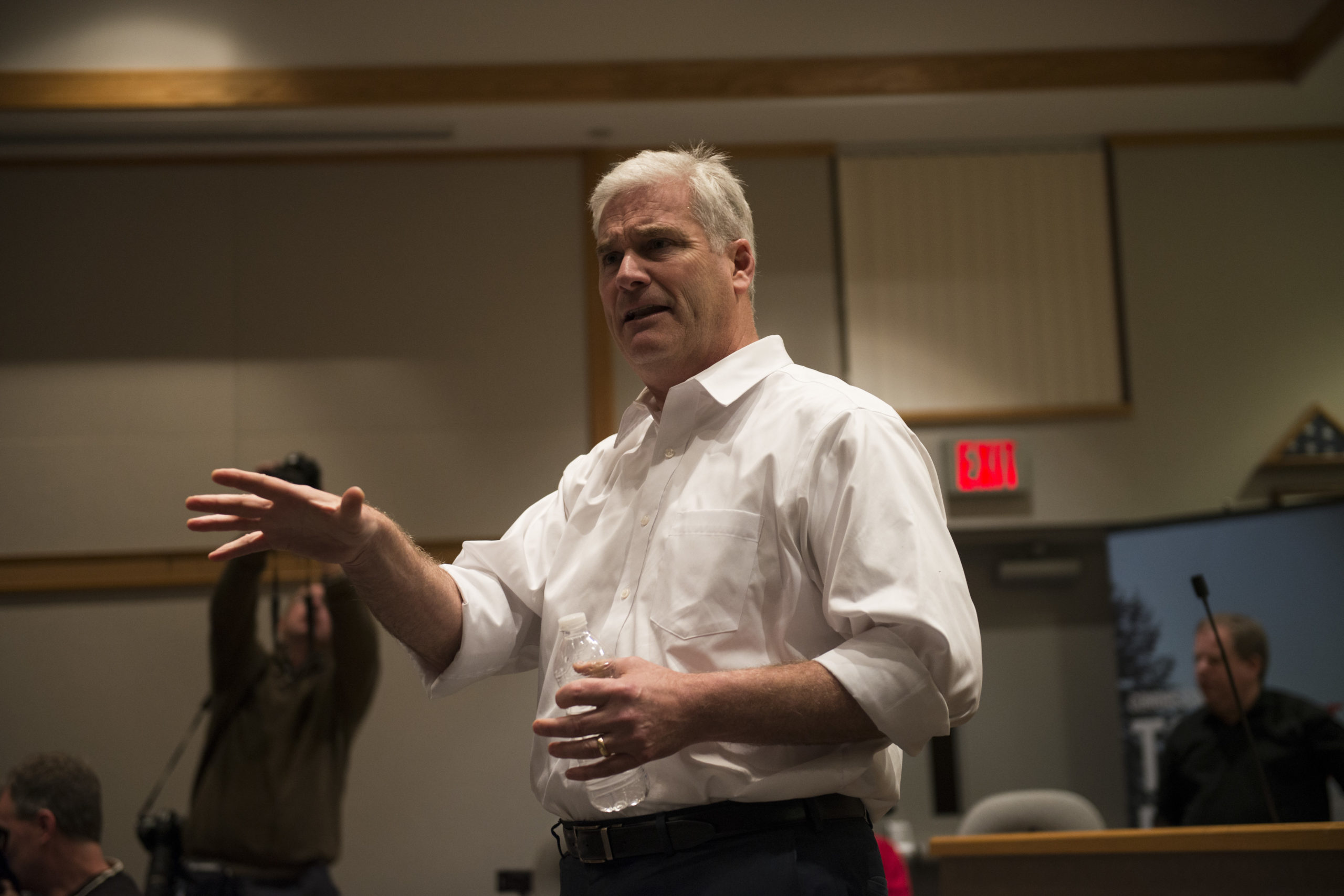 Rep Tom Emmer (R-MN) responds to a question at a town hall meeting on February 22, 2017 in Sartell, Minnesota. Emmer was asked questions ranging from health care, immigration, to education policy.(Photo by Stephen Maturen/Getty Images)
