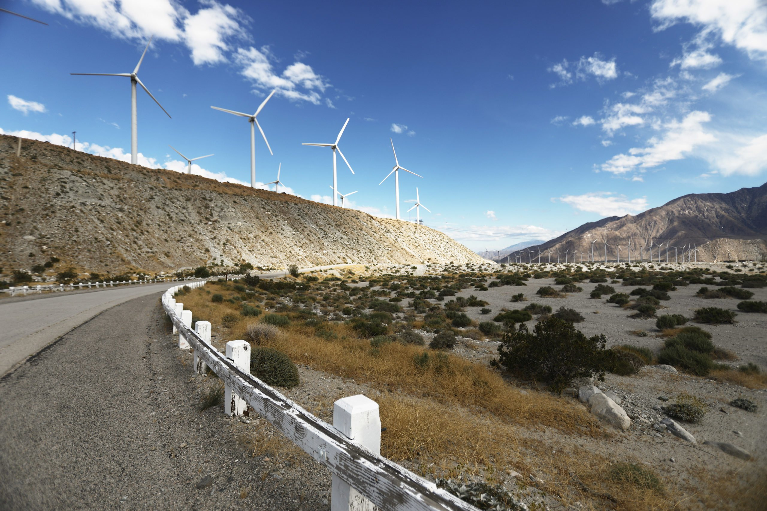 Wind turbines operate at a wind farm on May 6, 2019 in Whitewater, California. (Mario Tama/Getty Images)