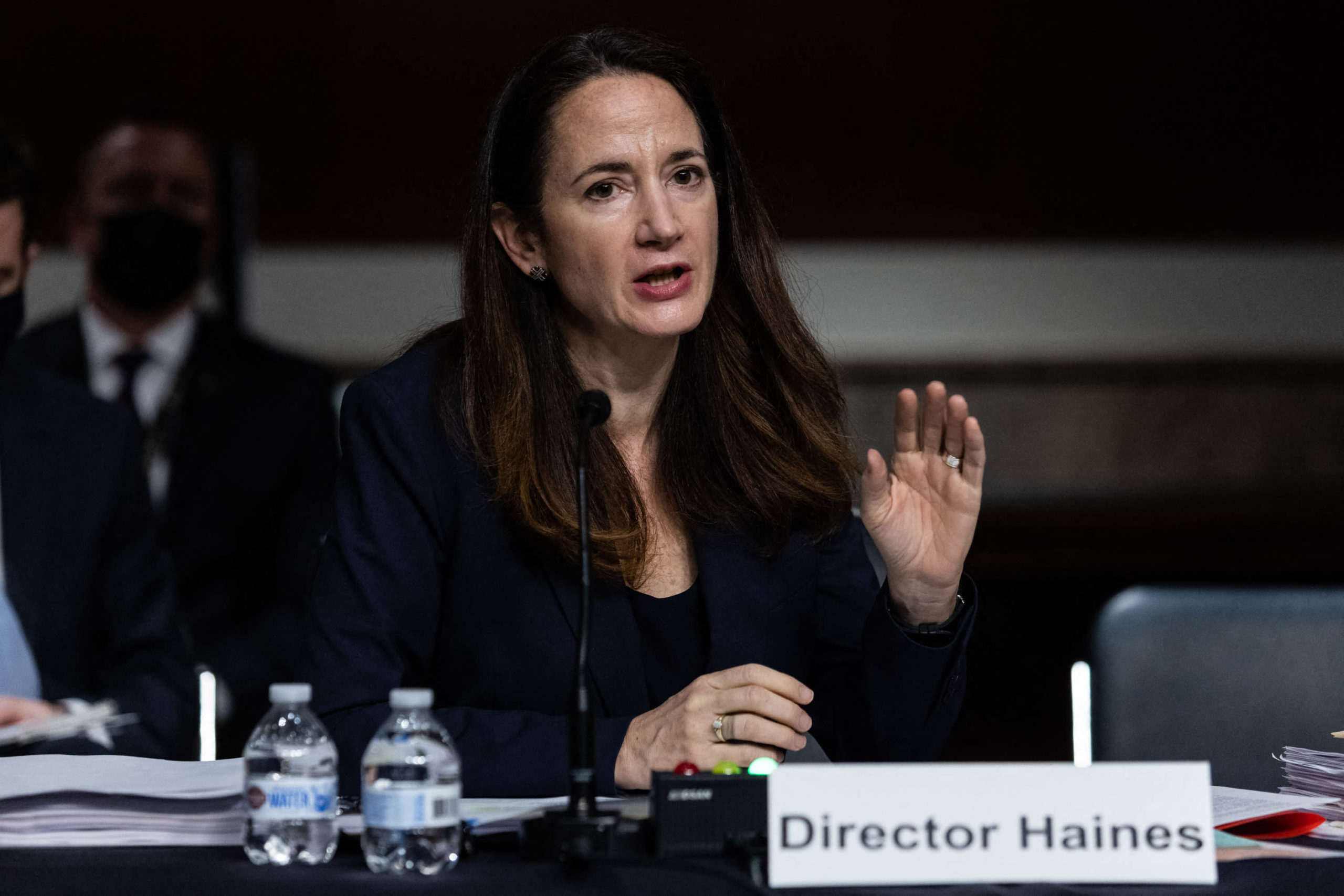 Director of National Intelligence Avril Haines testifies on April 29 before a Senate committee. (Graeme Jennings/Pool/AFP via Getty Images)
