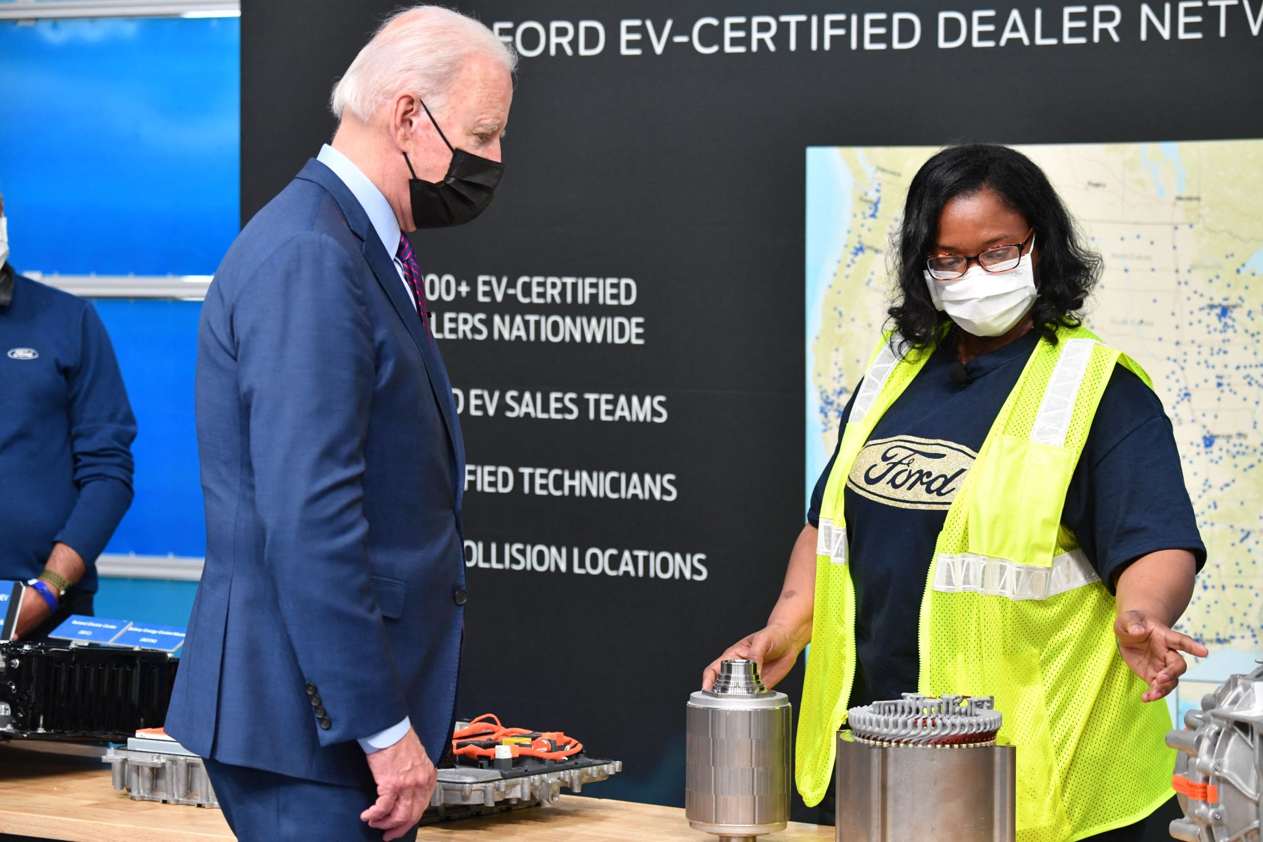President Joe Biden listens during a tour of the Ford Rouge Electric Vehicle Center in Dearborn, Michigan on May 18. (Nicholas Kamm/AFP via Getty Images)