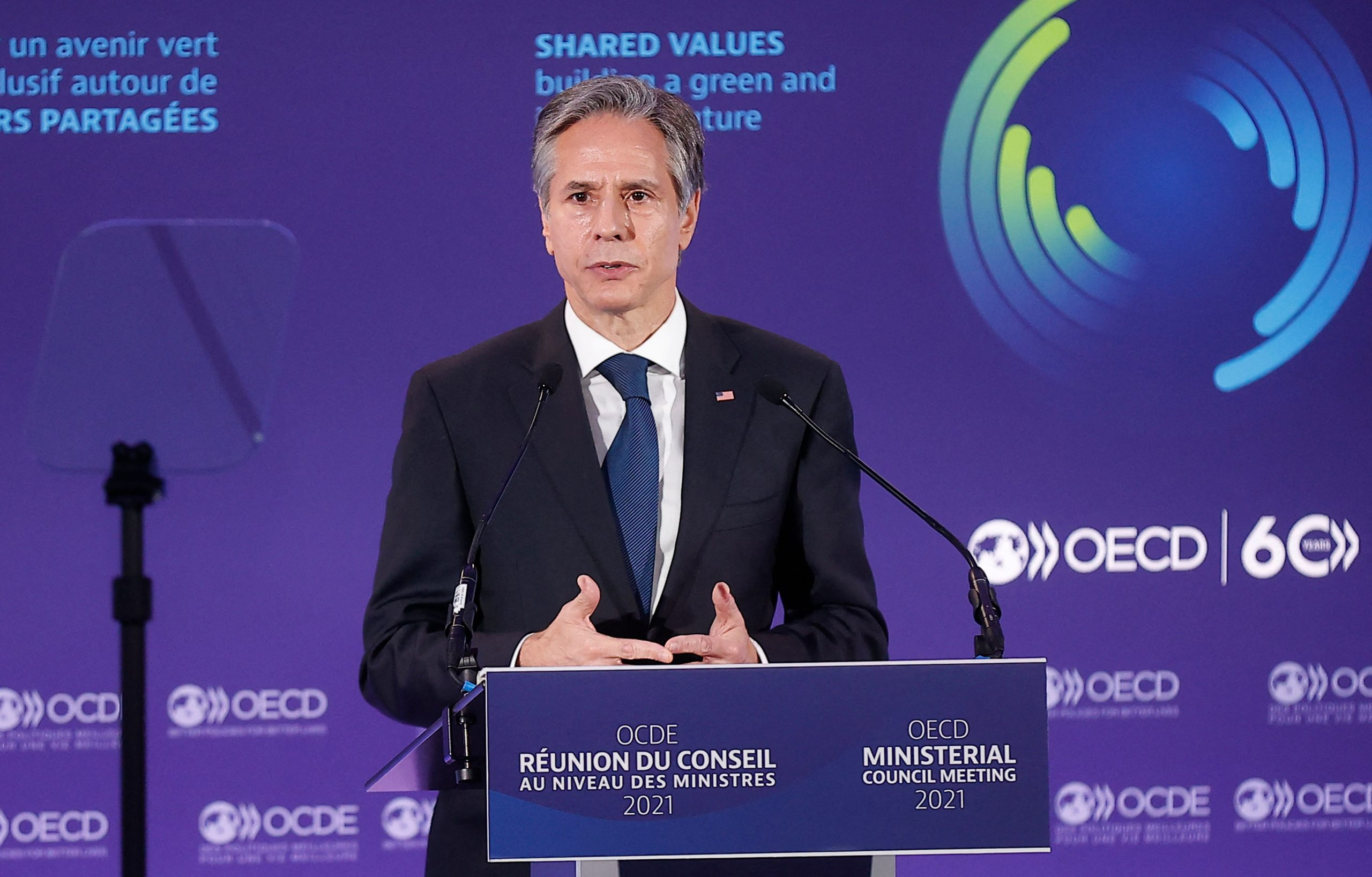 US Secretary of State Antony Blinken delivers an inaugural speech at the Organization for Economic Cooperation and Developments Ministerial Council Meeting in Paris on October 5, 2021. (Photo by IAN LANGSDON/POOL/AFP via Getty Images)