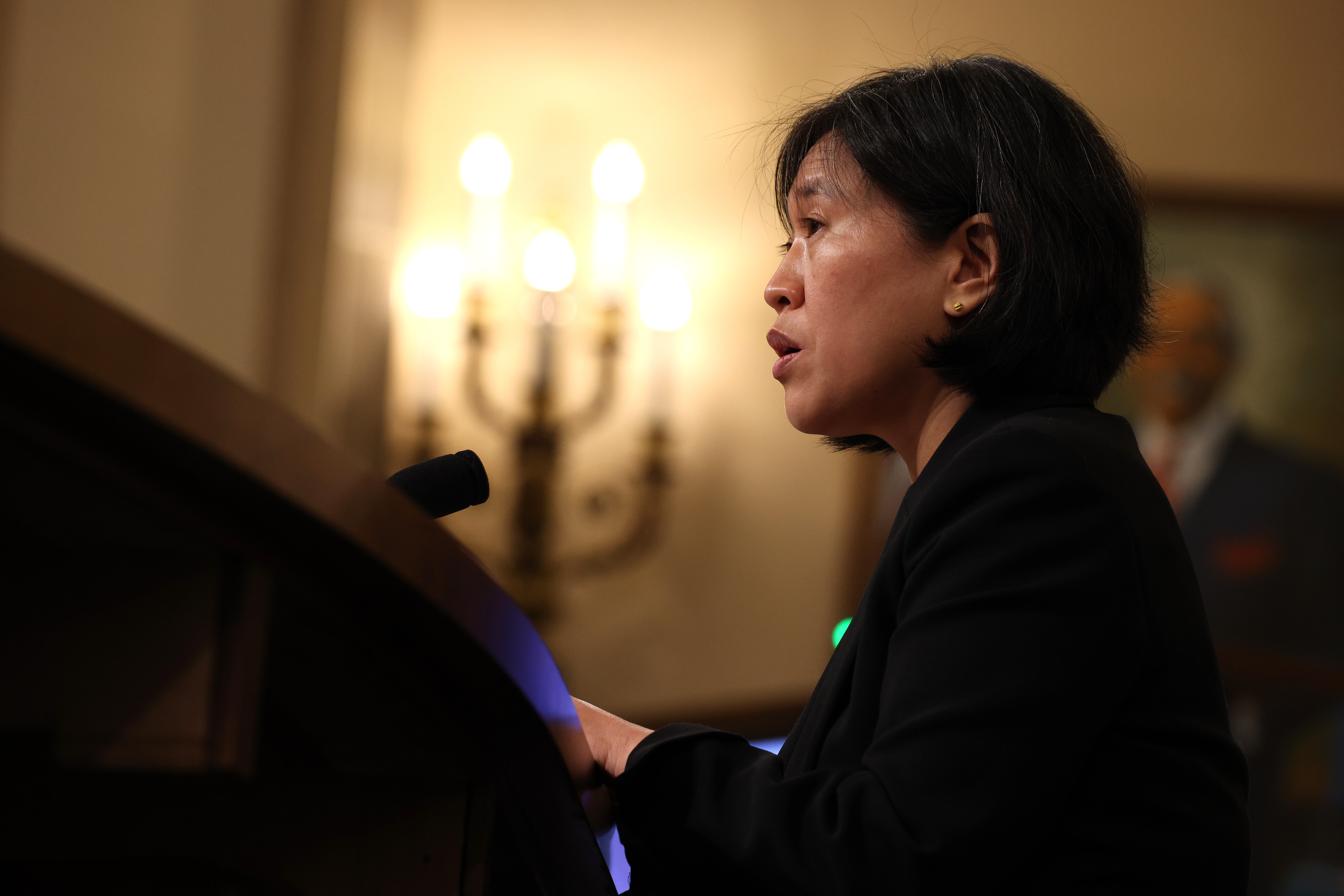 WASHINGTON, DC - MAY 13: U.S. Trade Representative Katherine Tai speaks during a hearing with the House Ways and Means committee at Capitol Hill on May 13, 2021 in Washington DC. Tai took questions from members about President Biden's 2021 trade policy agenda. (Photo by Anna Moneymaker/Getty Images)