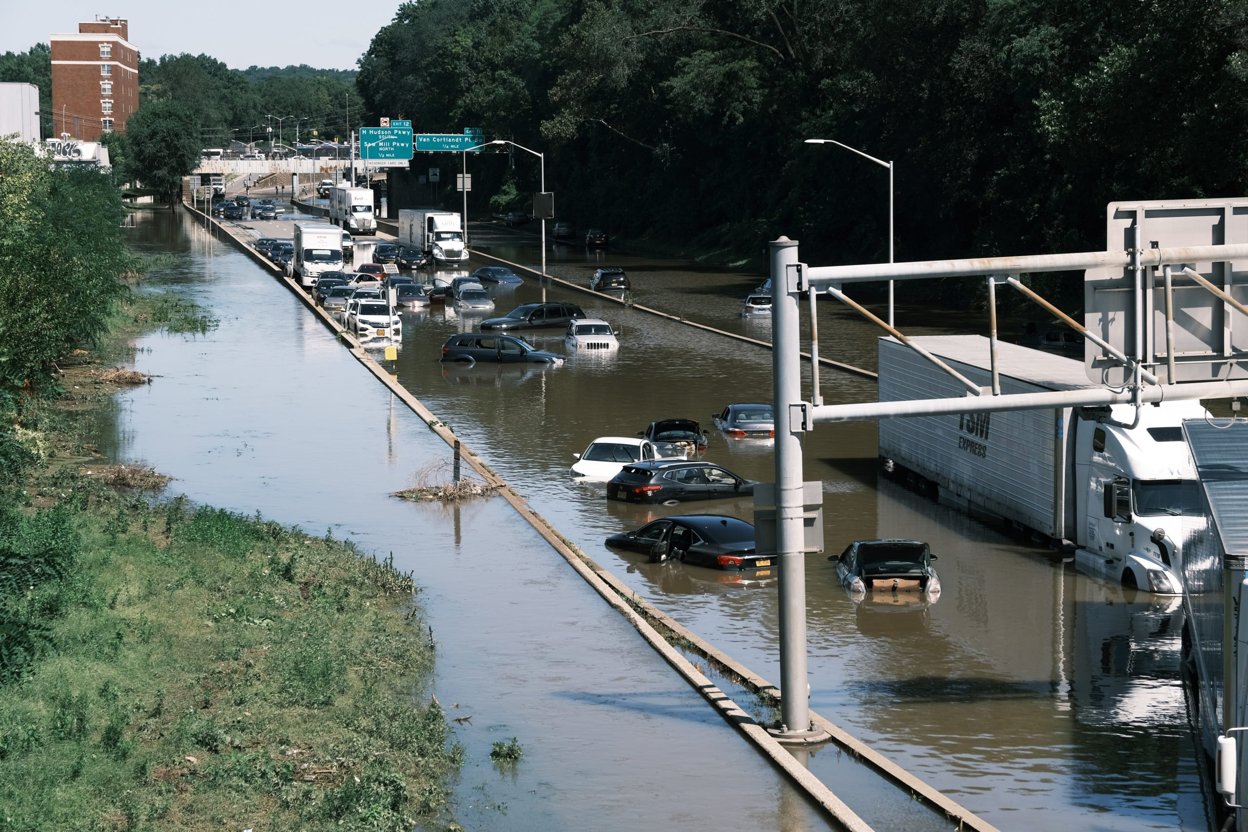 Cars sit abandoned on the flooded Major Deegan Expressway in New York City on Sept. 2. (Spencer Platt/Getty Images)