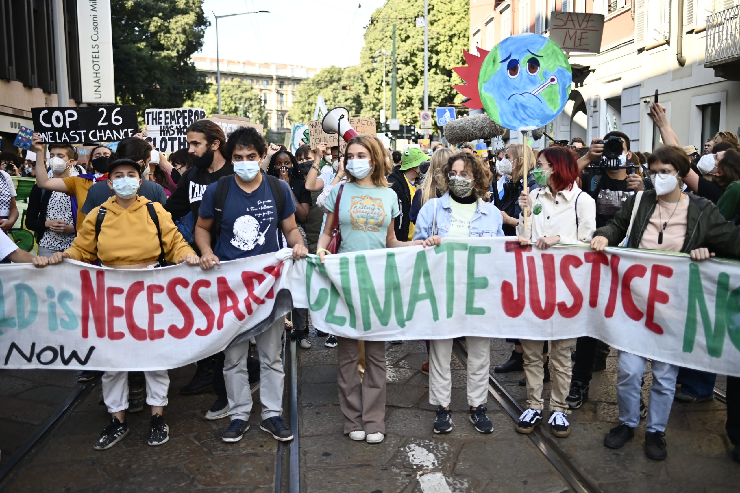 Child activists participate in a climate strike march on Oct. 1 in Milan, Italy. (Stefano Guidi/Getty Images)