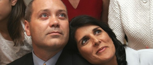 Republican candidate for Governor, Nikki Haley, right, watches the returns come in with her husband Michael Haley, center, and daughter Rena, left, at the Sheraton Hotel, in Columbia, S.C.,Tuesday, June 22, 2010.  (AP Photo/Brett Flashnick)
